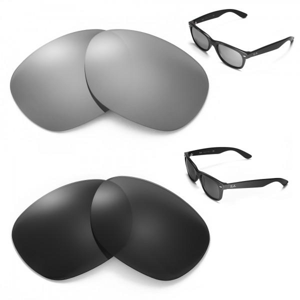 3c92e0440edcc New Walleva Polarized Titanium + Black Lenses For Ray-Ban Wayfarer RB2132  55mm. Color