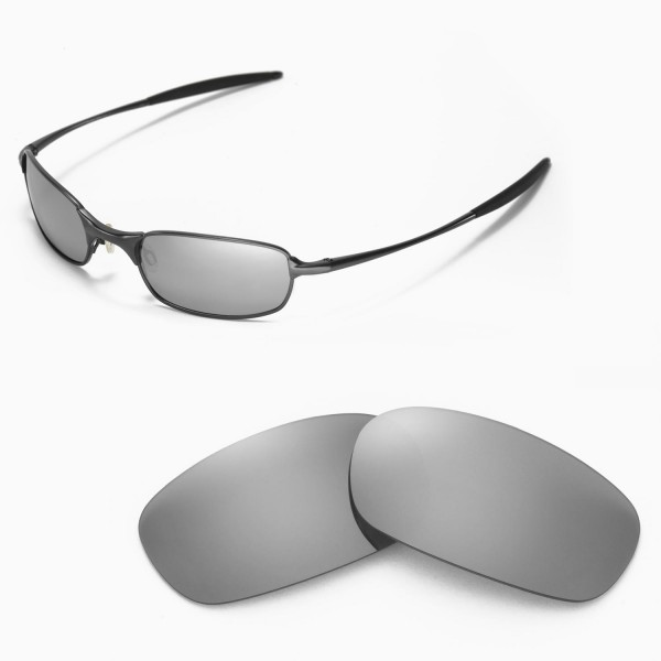 Walleva Replacement Lenses for Oakley Square Wire 2.0 Sunglasses - Multiple  Options Available (Titanium Mirror Coated - Polarized)