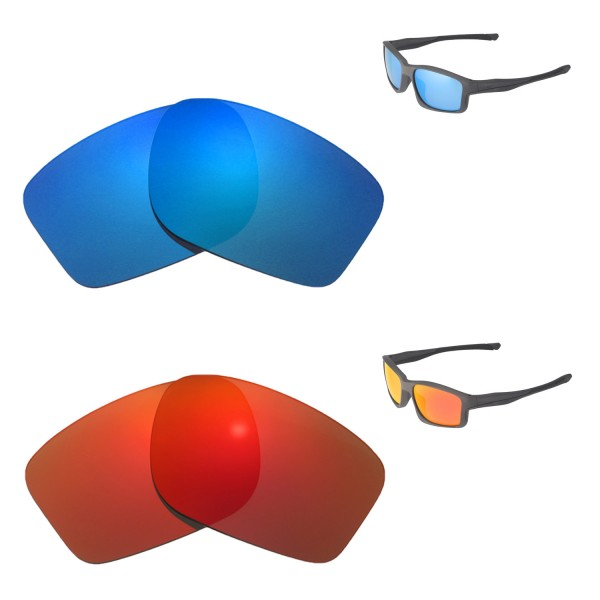 7df29db721b8ba New Walleva Fire Red + Ice Blue Polarized Replacement Lenses For Oakley  Chainlink Sunglasses. Color