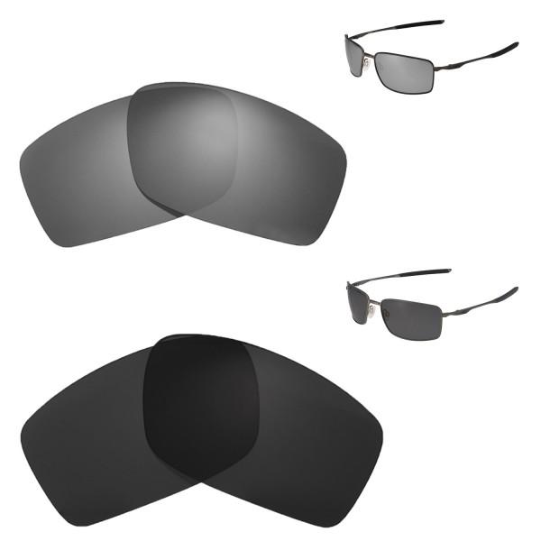 cbe7a87127 New Walleva Titanium + Black Polarized Replacement Lenses For Oakley Square  Wire II(OO4075 Series) Sunglassess. Color : :
