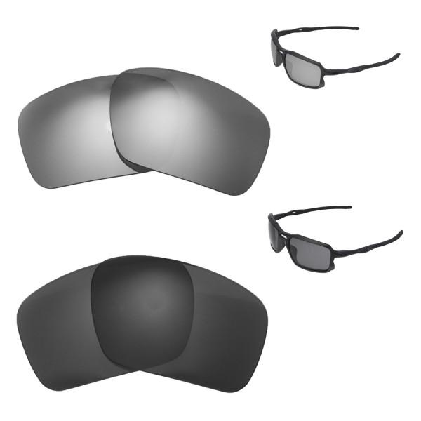 d20ff0e8f0 New Walleva Titanium + Black Polarized Replacement Lenses For Oakley  Triggerman Sunglassess. Color : :