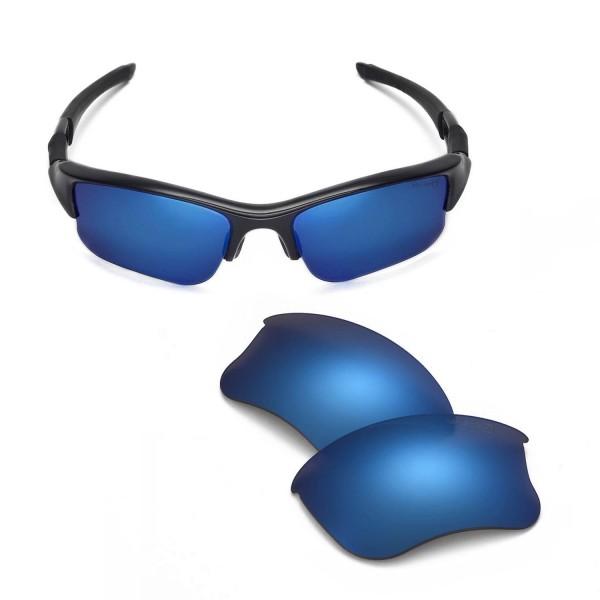 861cebbf09 Walleva Ice Blue Mr.Shield Polarized Replacement Lenses for Oakley Flak  Jacket XLJ Sunglasses