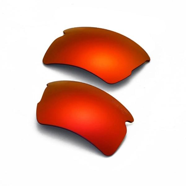 840c8d3f5deb1 Walleva Mr.Shield Fire Red Polarized Replacement Lenses for Oakley Flak 2.0  XL Sunglasses