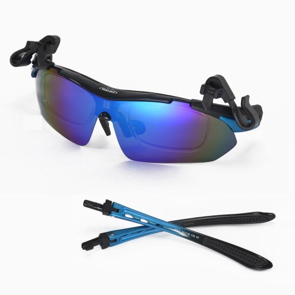 Walleva Blue Polarized TR90 Sunglasses With Hat Clip+Prescription Lenses Insert