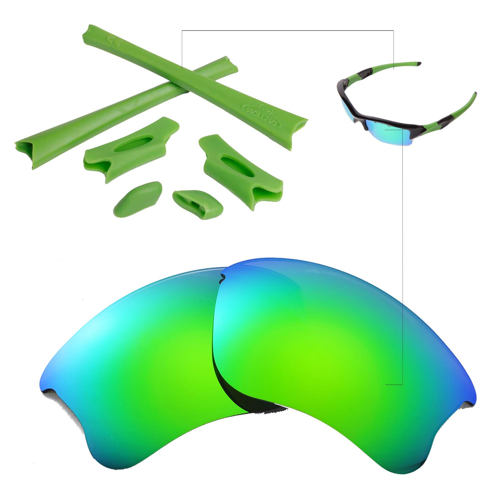 31c56f35e3 New Walleva Polarized Emerald Lenses And Rubber Kit For Oakley Flak Jacket  XLJ