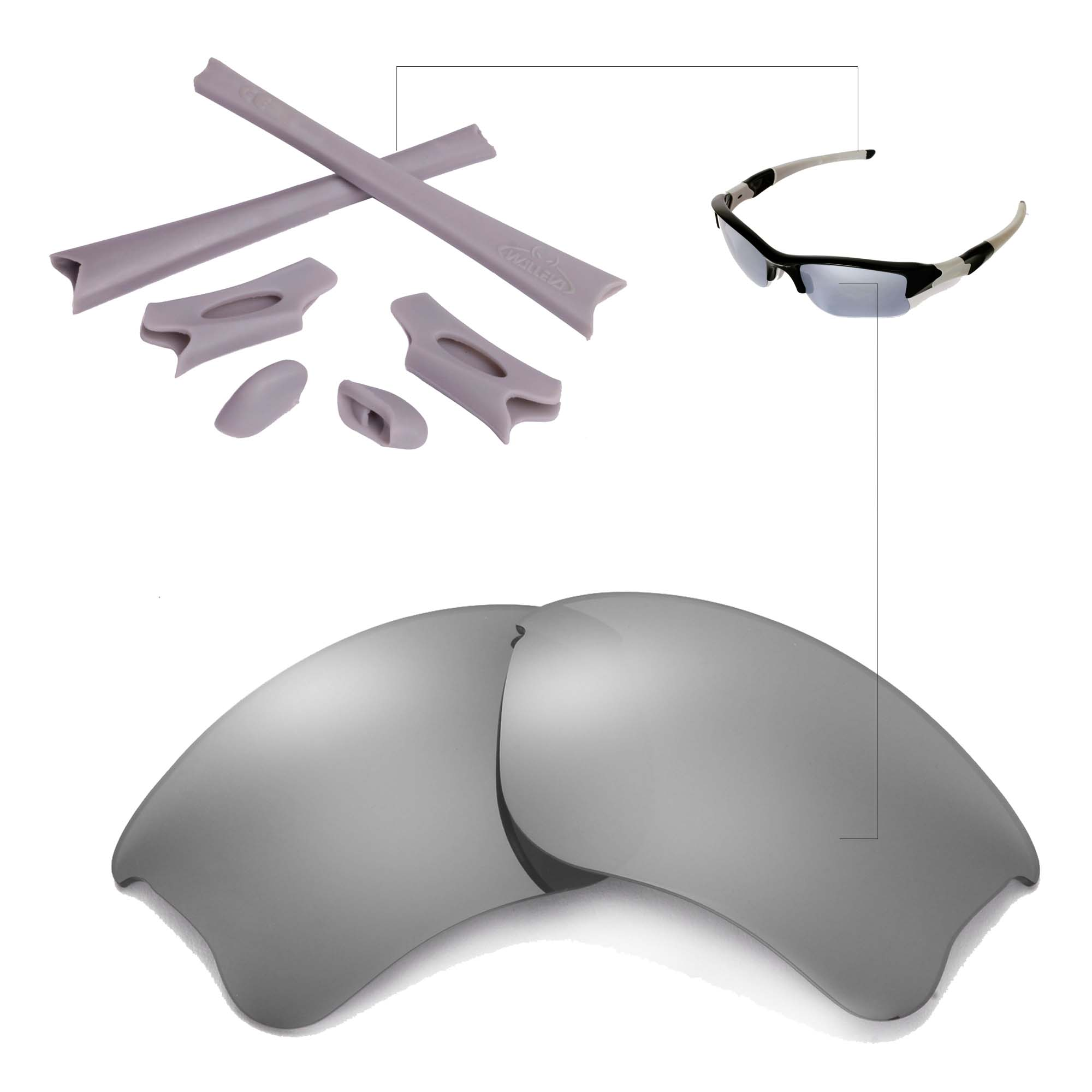 31c349914c New Walleva Polarized Titanium Lenses And Rubber Kit For Oakley Flak ...