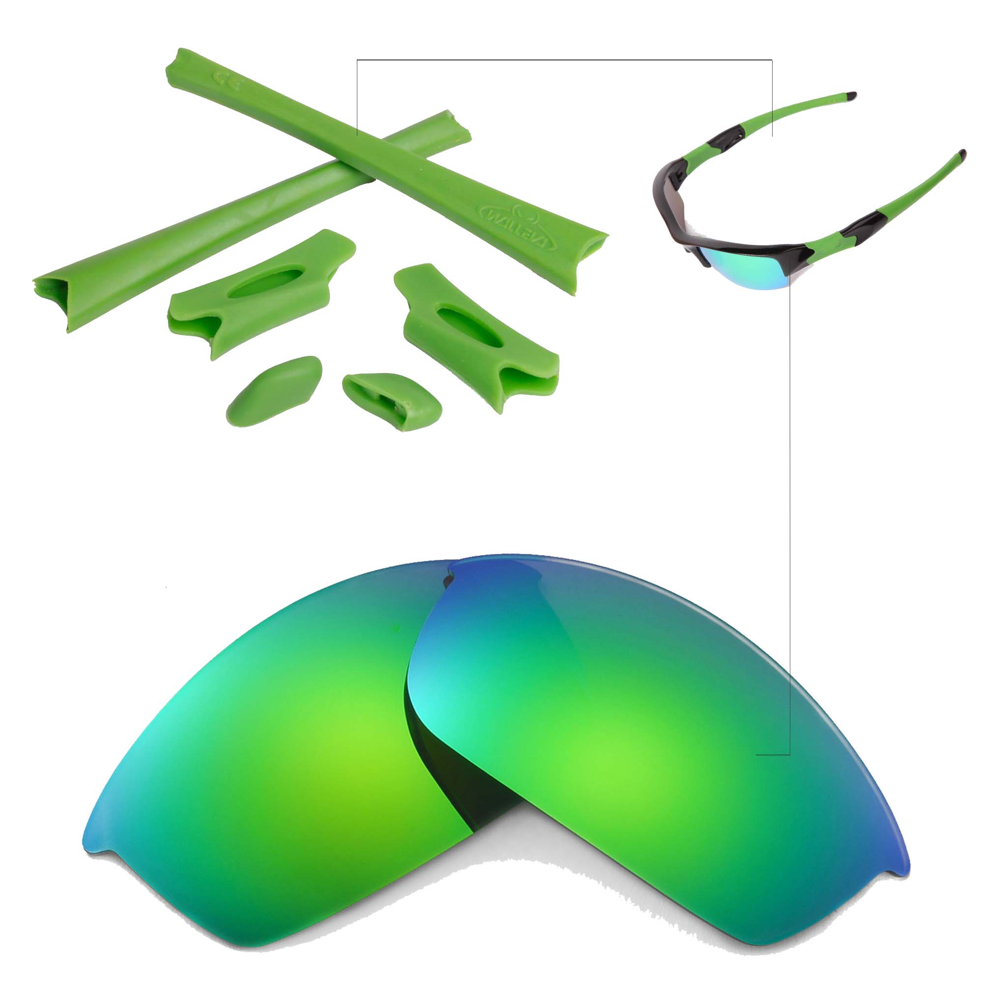 bed1e8536de WL Polarized Emerald Replacement Lenses And Rubber Kit For Oakley ...