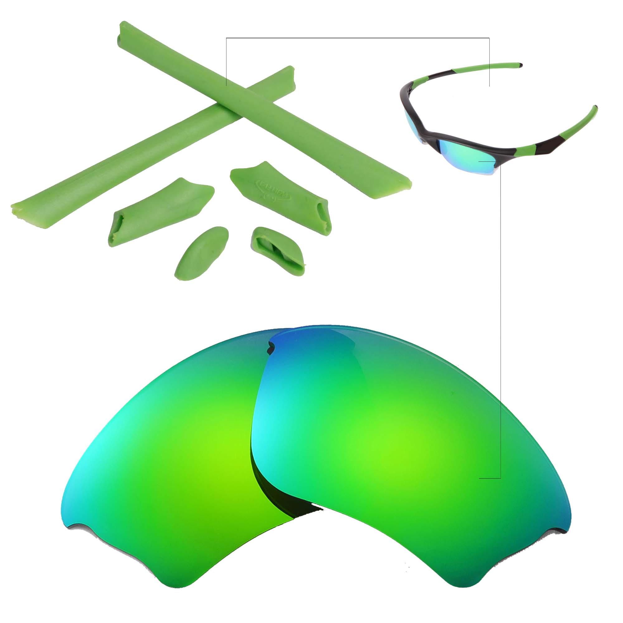b8ec93c5e3 Details about New Walleva Polarized Emerald Lenses And Rubber Kit For Oakley  Half Jacket XLJ