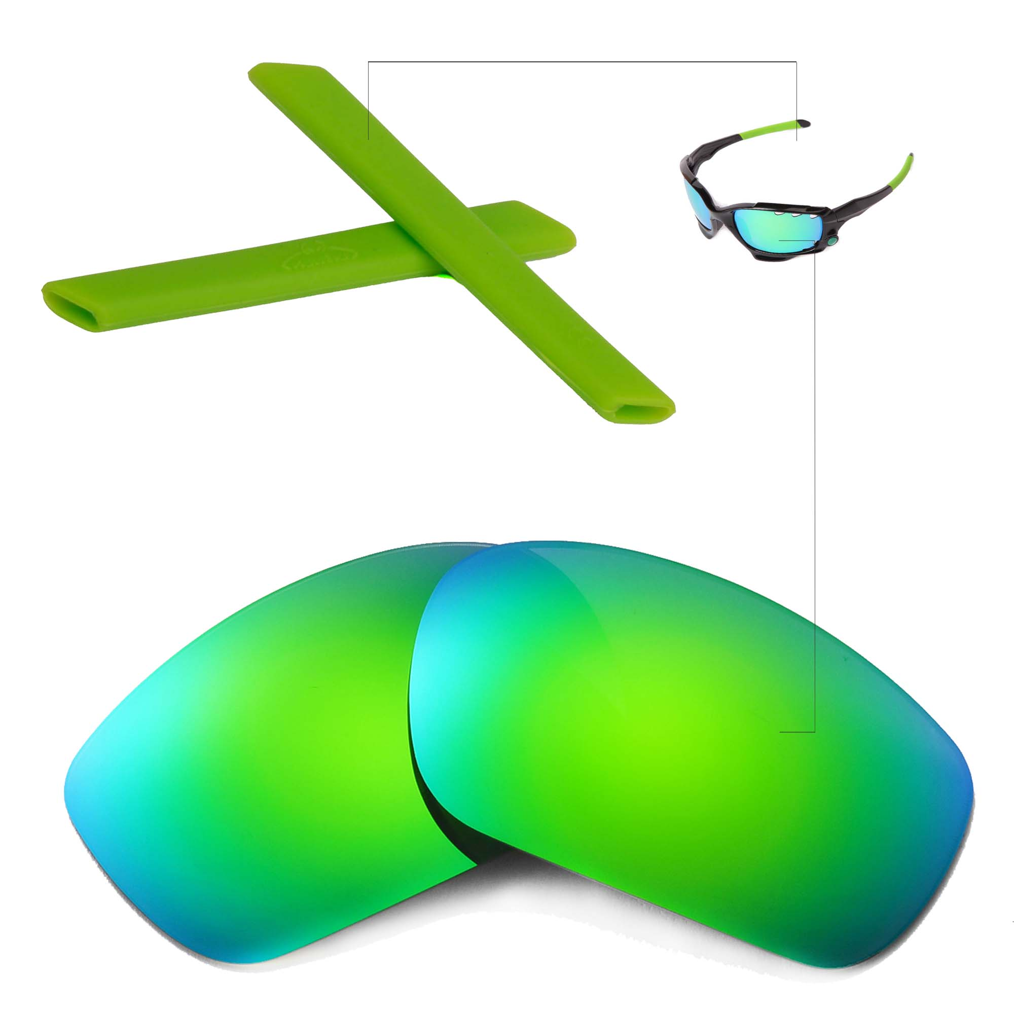 New walleva polarized emerald lenses and green earsocks for oakley main image biocorpaavc Image collections
