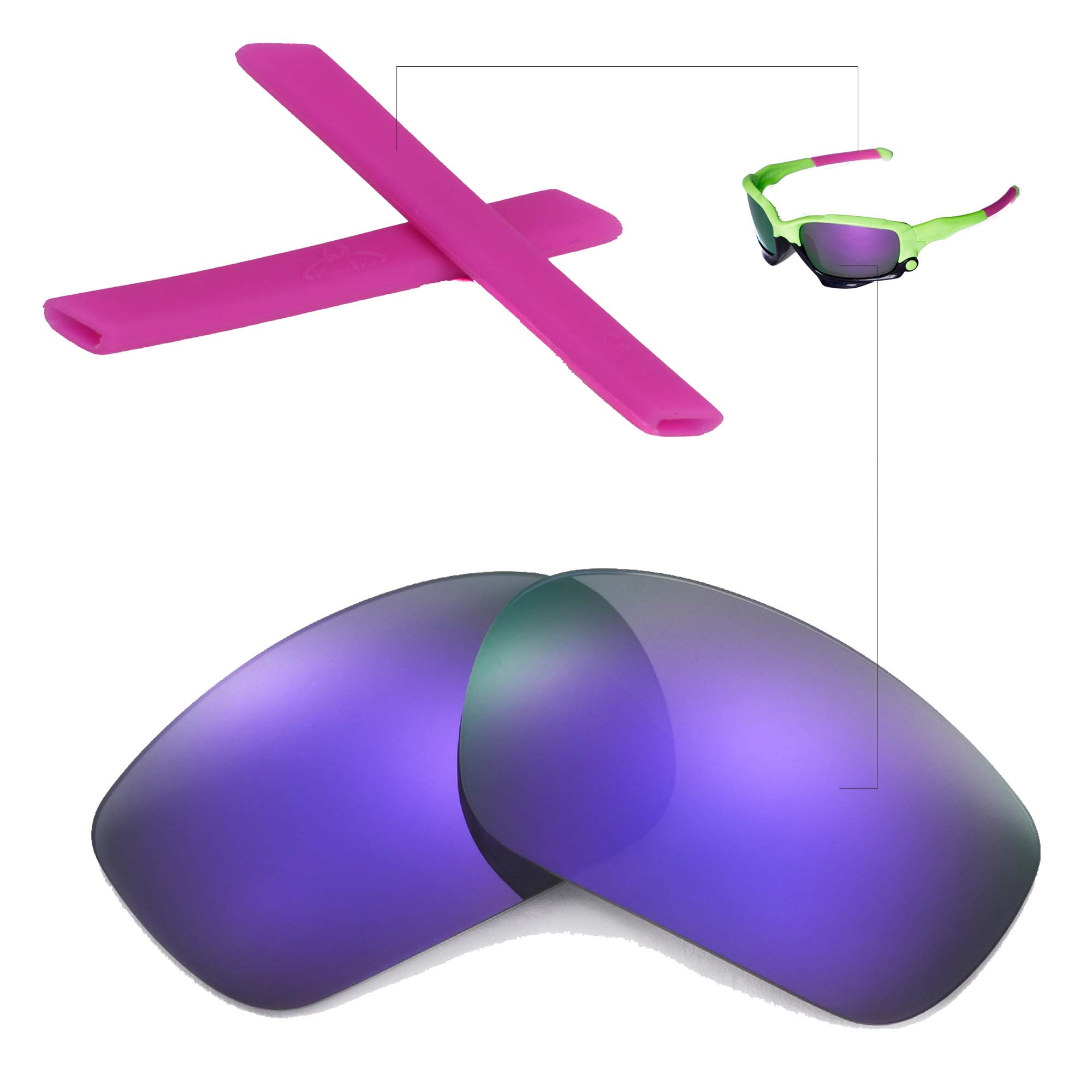 New Walleva Polarized Purple Lenses And Earsocks For Oakley Bowline Clipart Etc Main Image