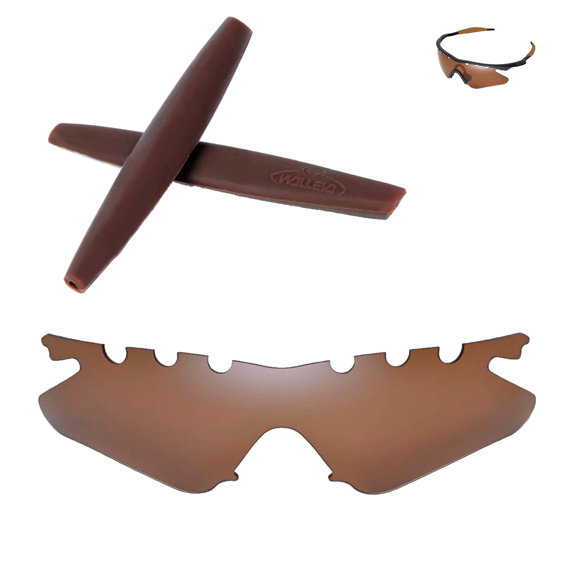 336424992b Details about WL Polarized Brown Vented Lenses + Brown Earsocks For Oakley  M Frame Heater