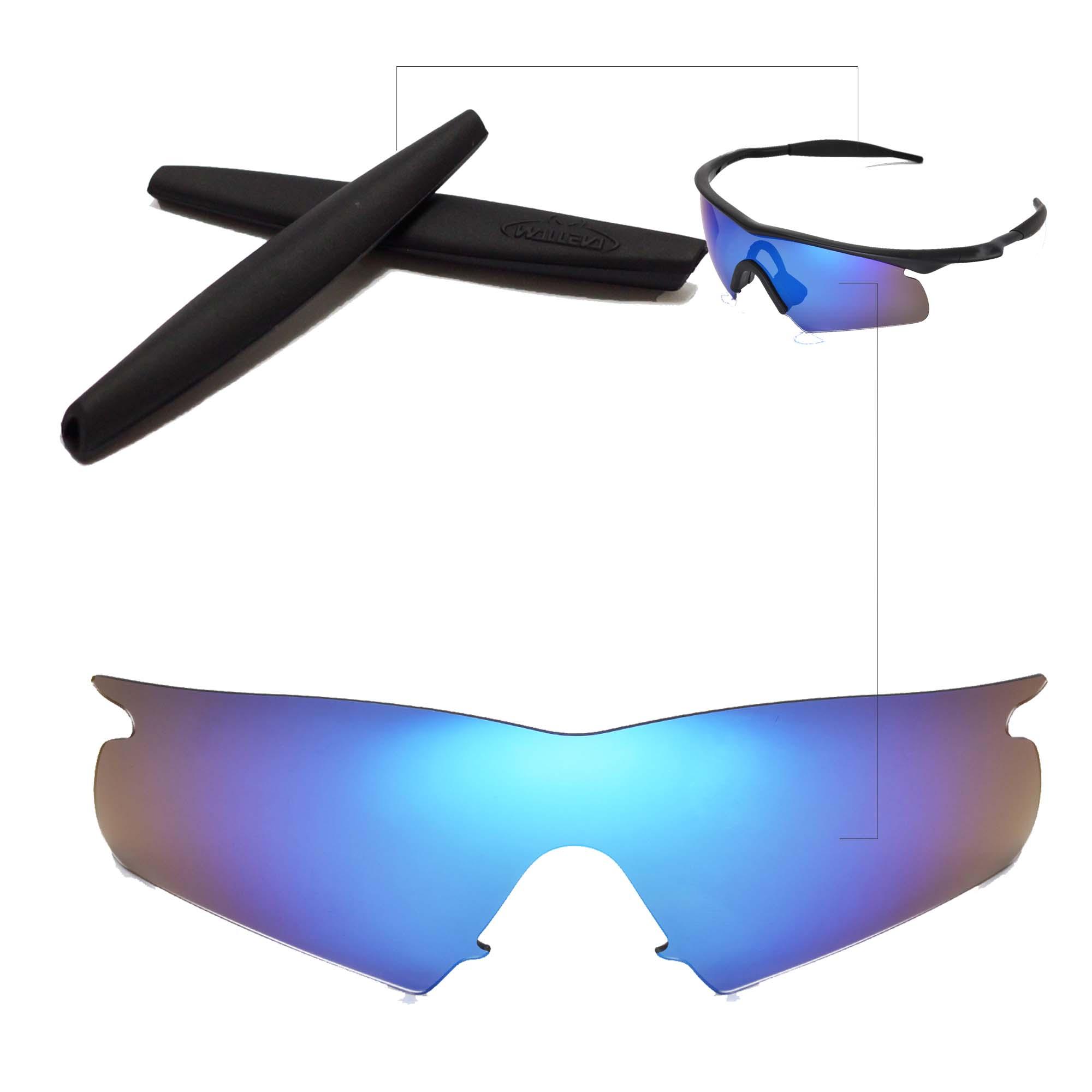 Polarized Ice Blue Replacement Lenses + Black Earsocks For Oakley M ...