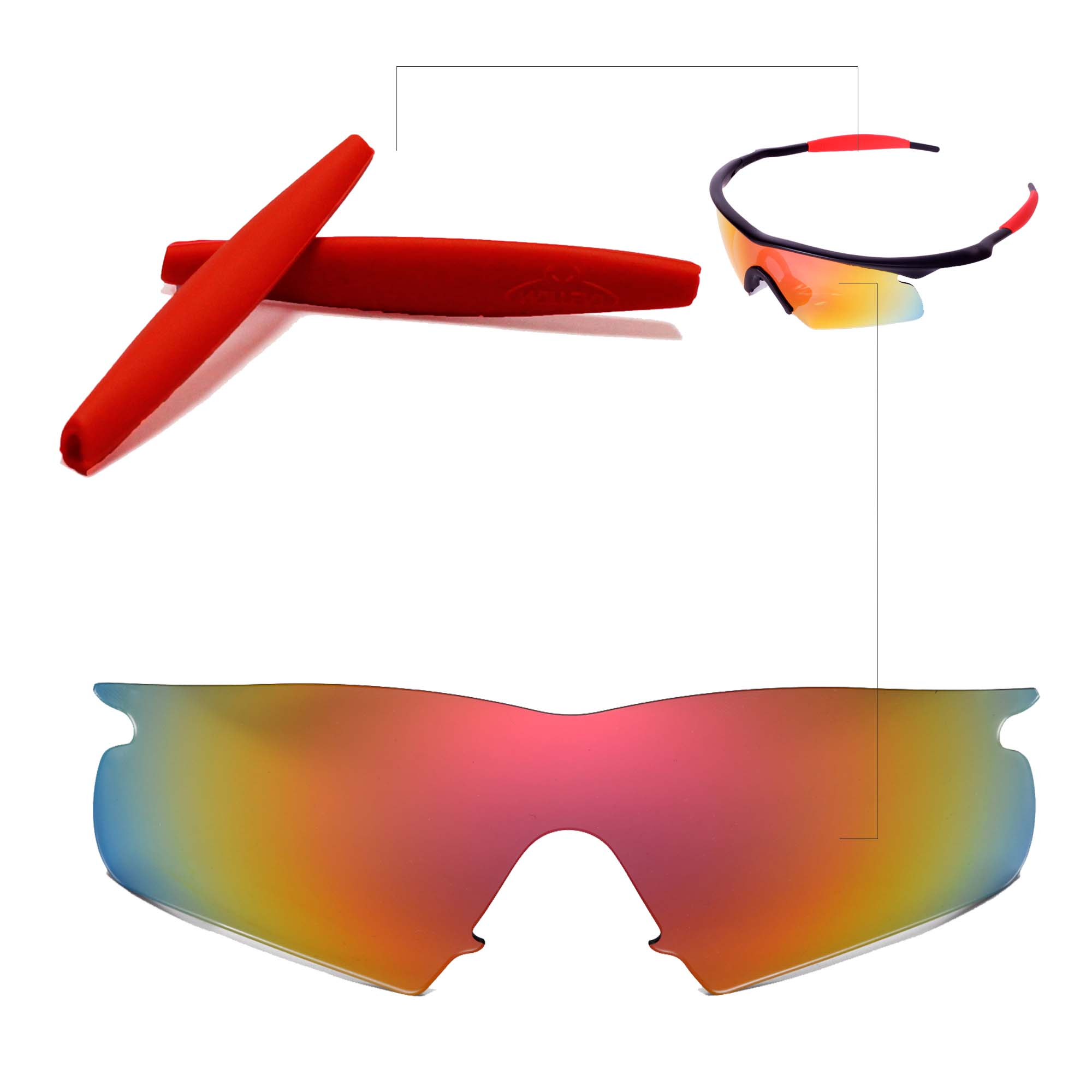 6857b4204a Details about Walleva Fire Red Replacement Lenses+Earsocks For Oakley M  Frame Hybrid