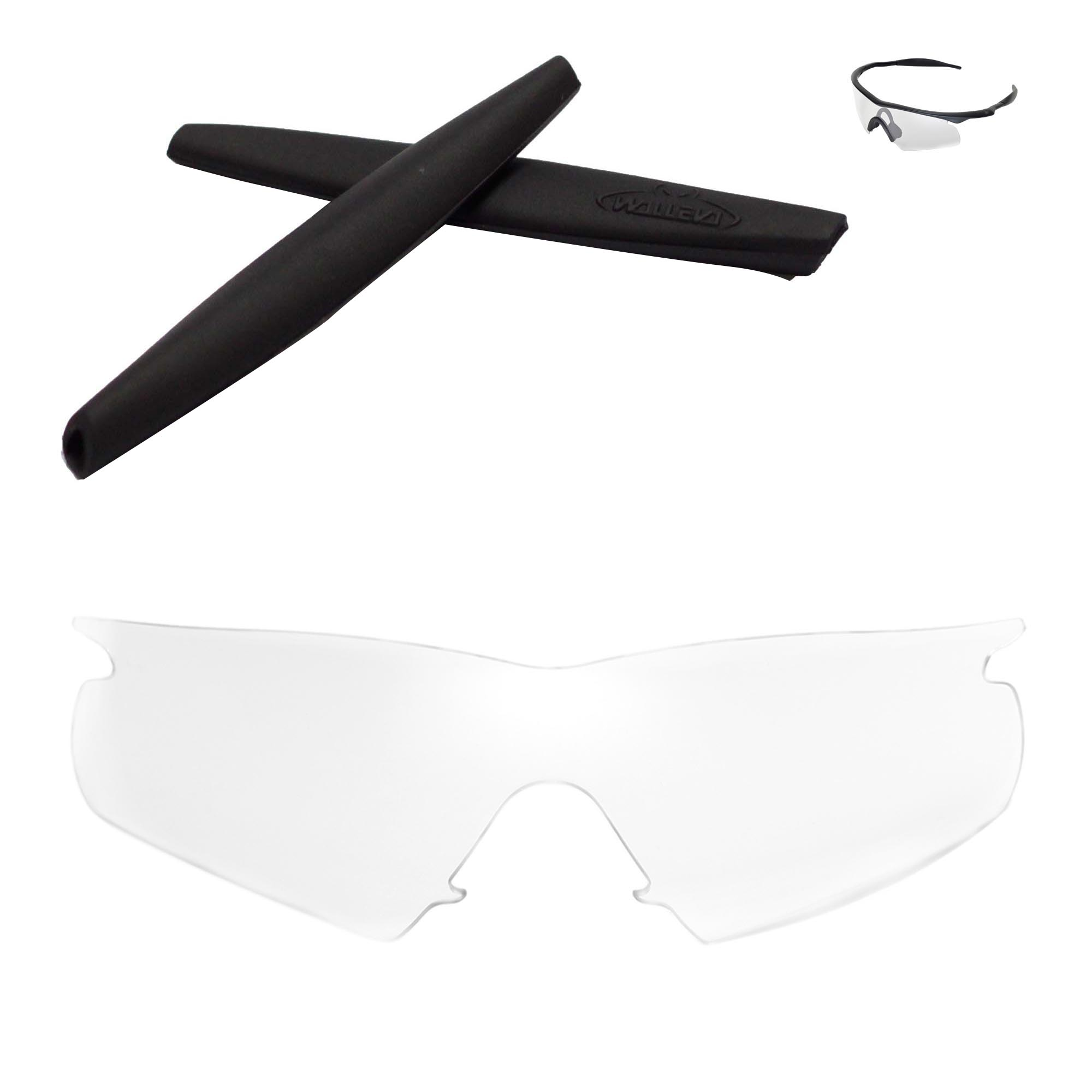 Walleva Clear Replacement Lenses and Black Rubber Kit for Oakley M ...