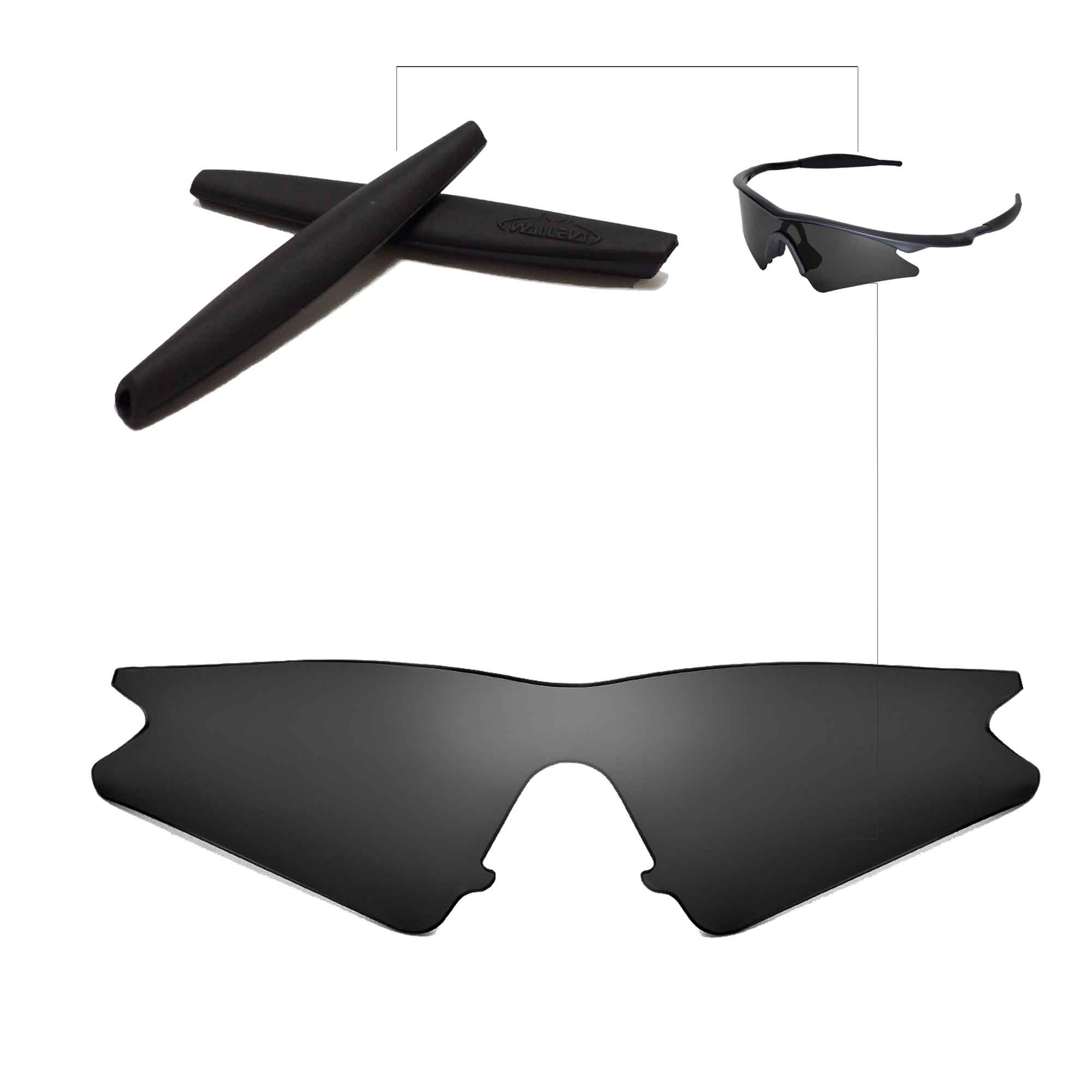70846de7aa Details about Walleva Polarized Black Replacement Lenses+Earsocks For Oakley  M Frame Sweep