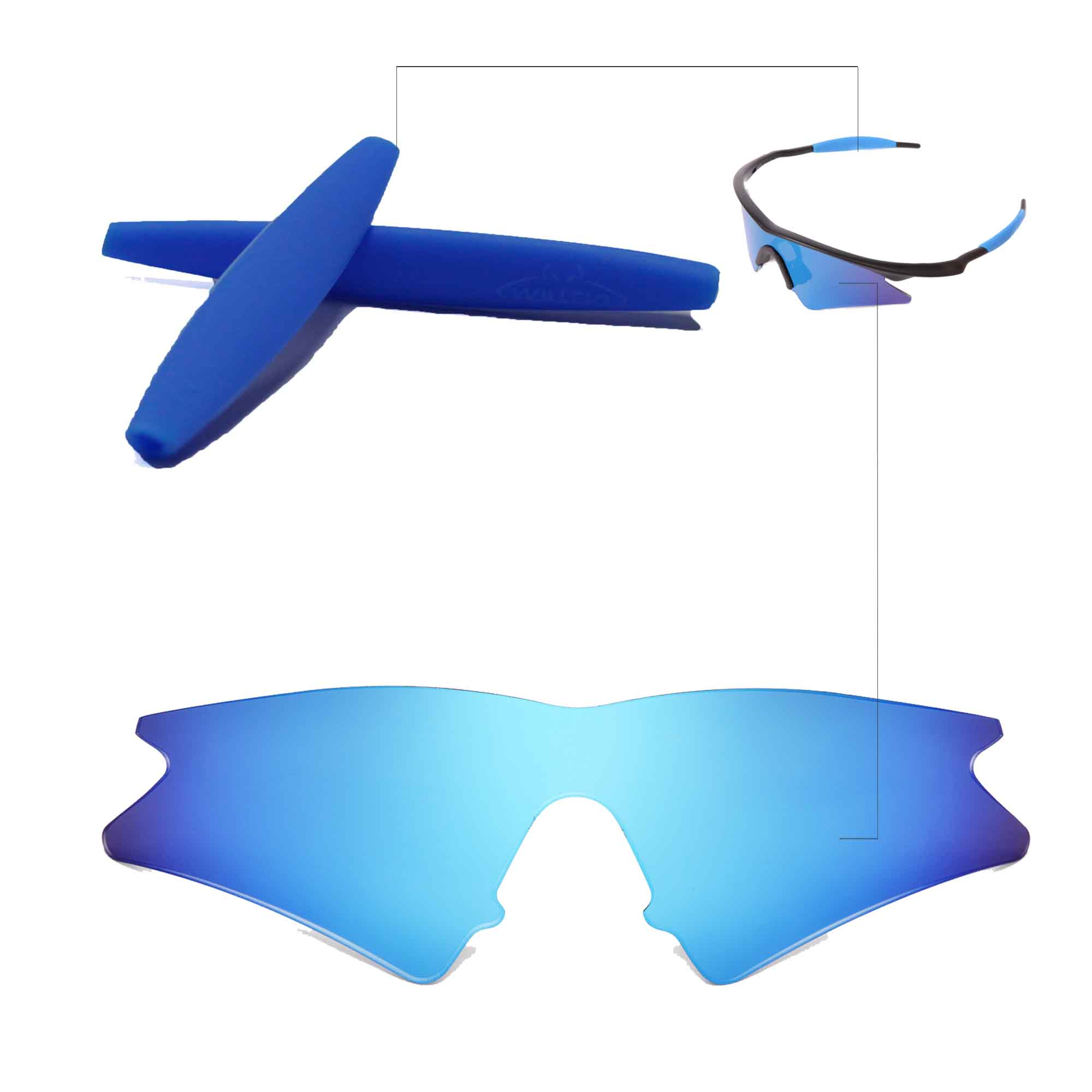Walleva Polarized Ice Blue Replacement Lenses+Earsocks For Oakley M ...