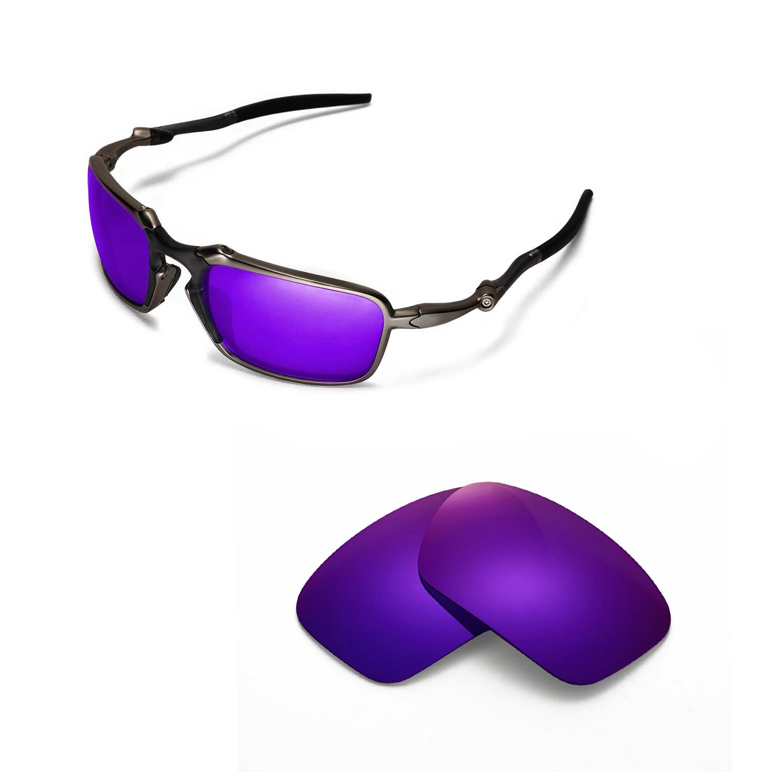 c2b728a7474 Details about New Walleva Polarized Purple Replacement Lenses For Oakley  Badman Sunglasses