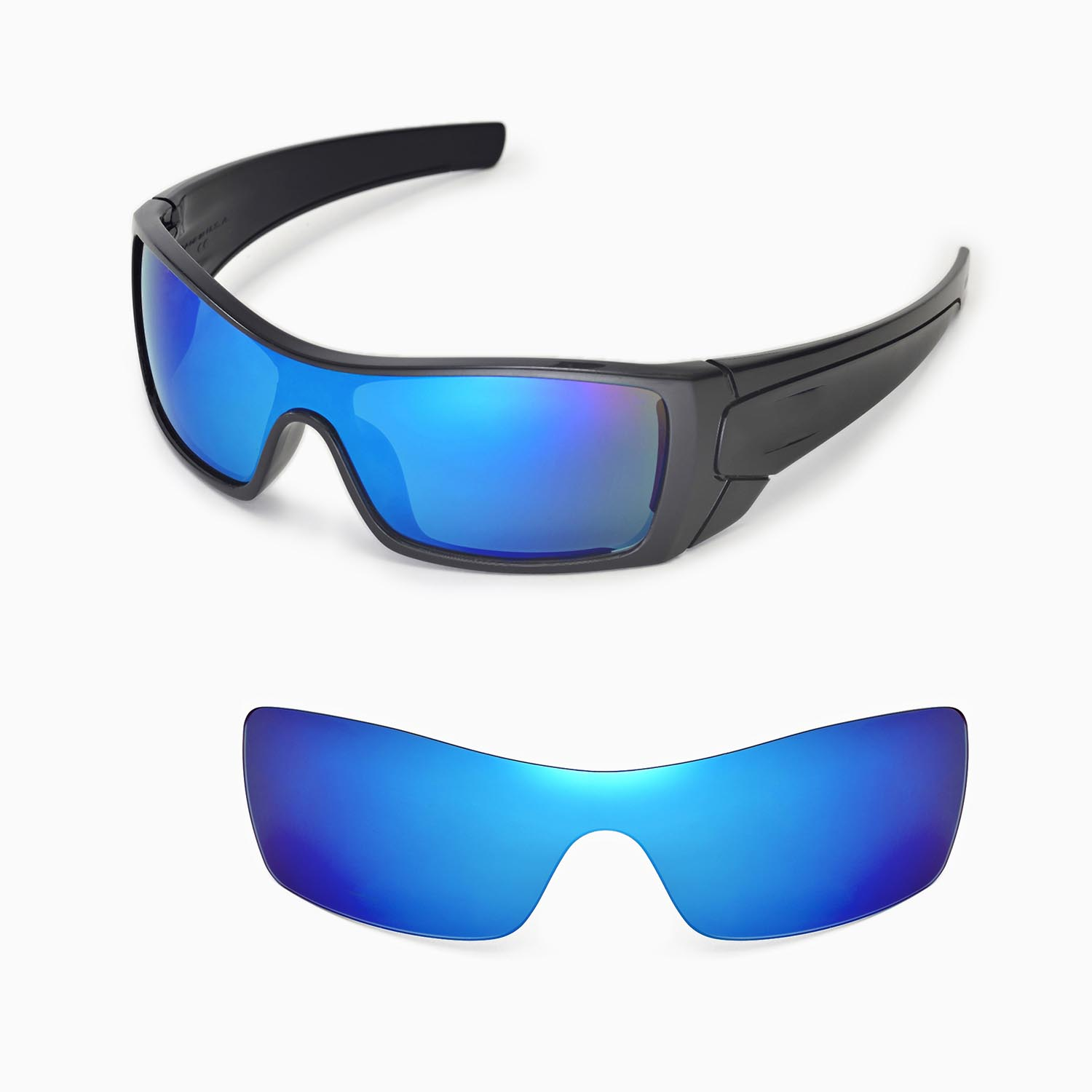 f235d3b088 New Walleva Polarized Ice Blue Replacement Lenses For Oakley Batwolf  Sunglasses 608729251446