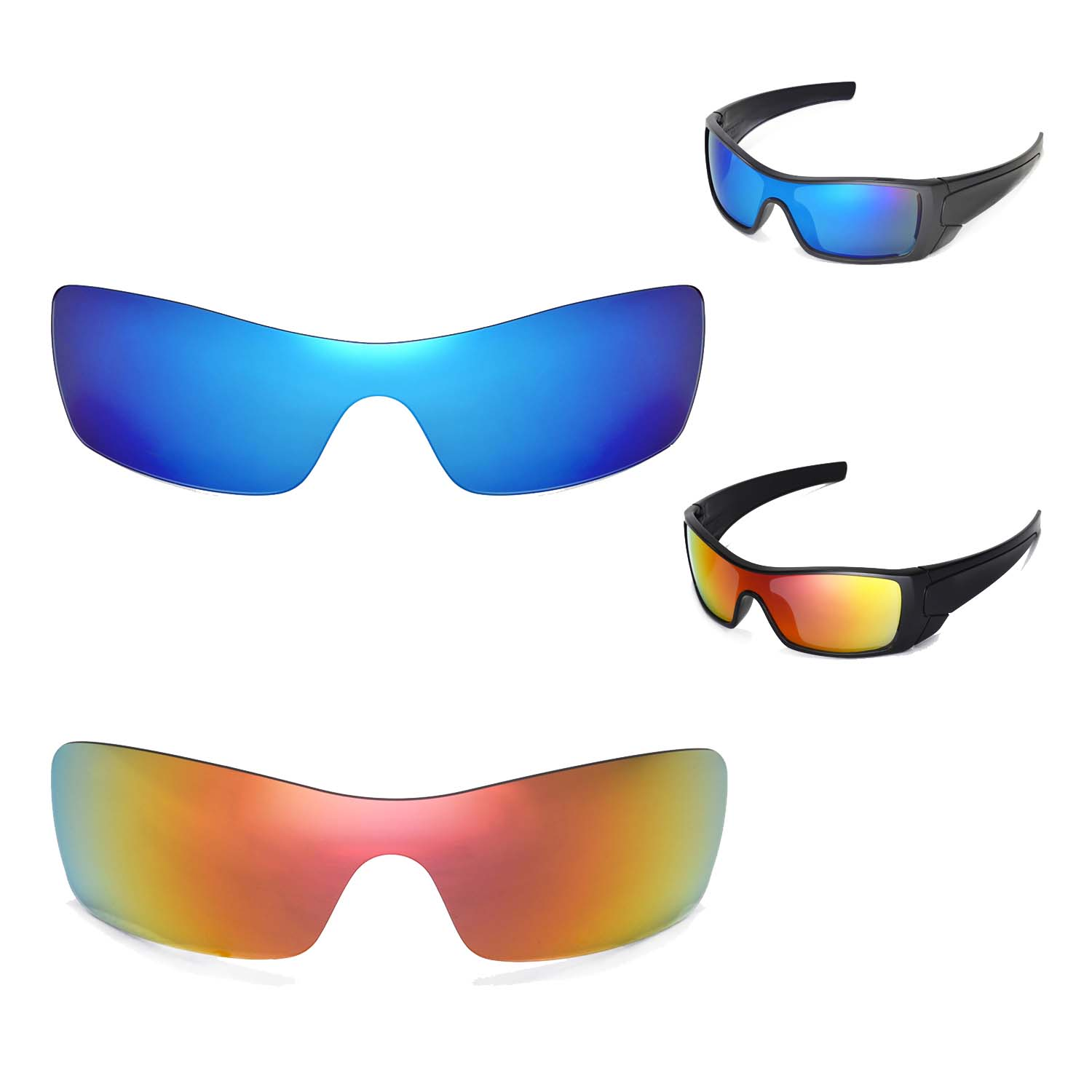 4517c187a8d Details about New Walleva Polarized Fire Red + Ice Blue Lenses For Oakley  Batwolf Sunglasses