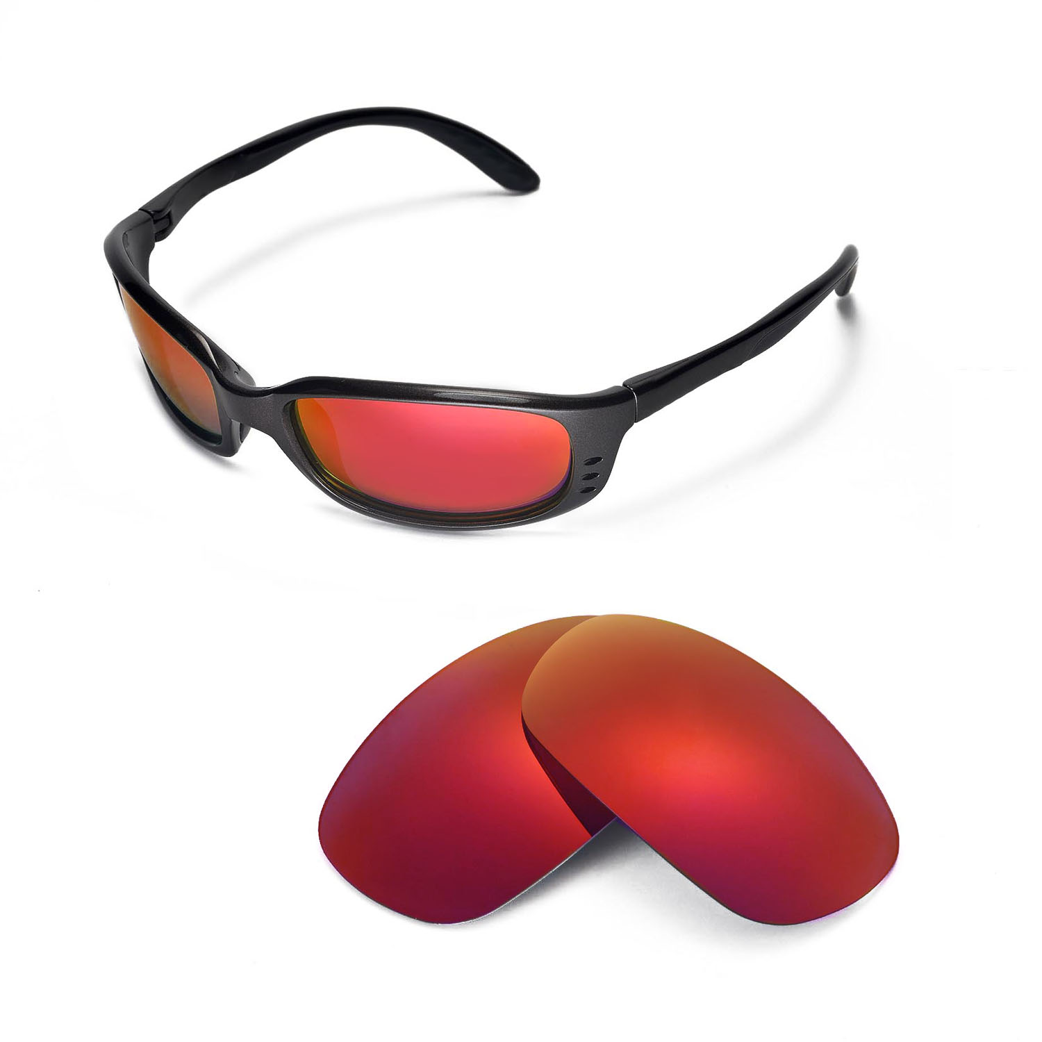 f95d8c92c4 Details about Walleva Fire Red Polarized Replacement Lenses For Costa Del  Mar Brine Sunglasses