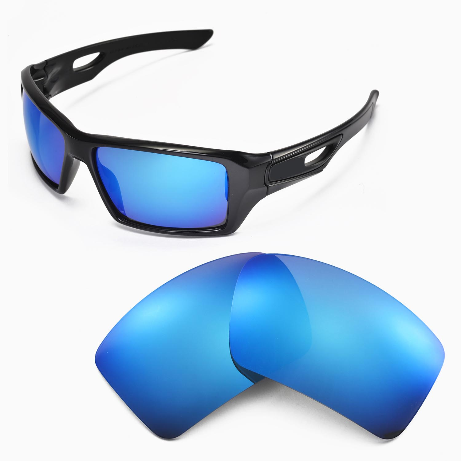 cb0a1aaead Details about New Walleva Ice Blue Replacement Lenses For Oakley Eyepatch 2  Sunglasses