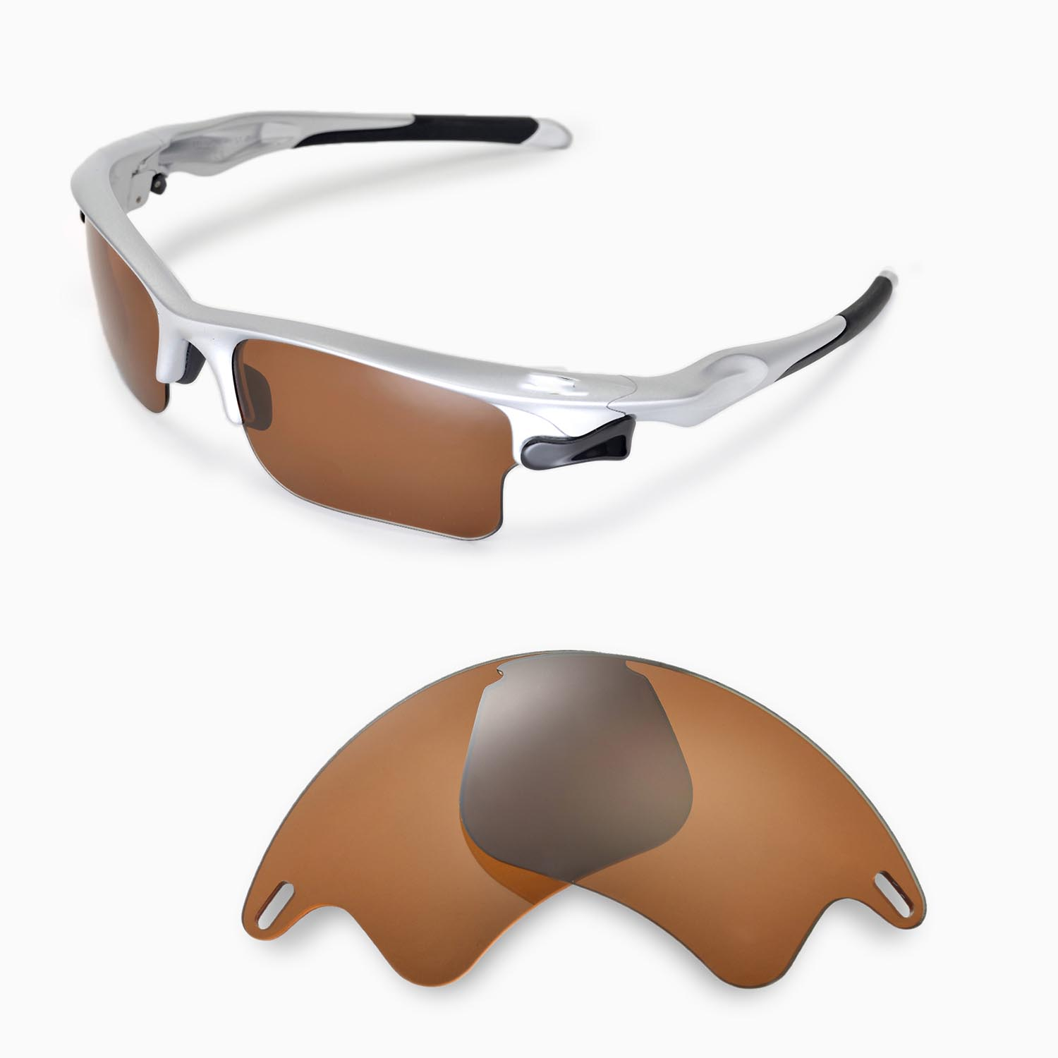 637fca22cb Walleva Polarized Brown Lenses for Oakley Fast Jacket XL x1  Walleva  Microfiber Lens Cleaning Cloth x1. main image