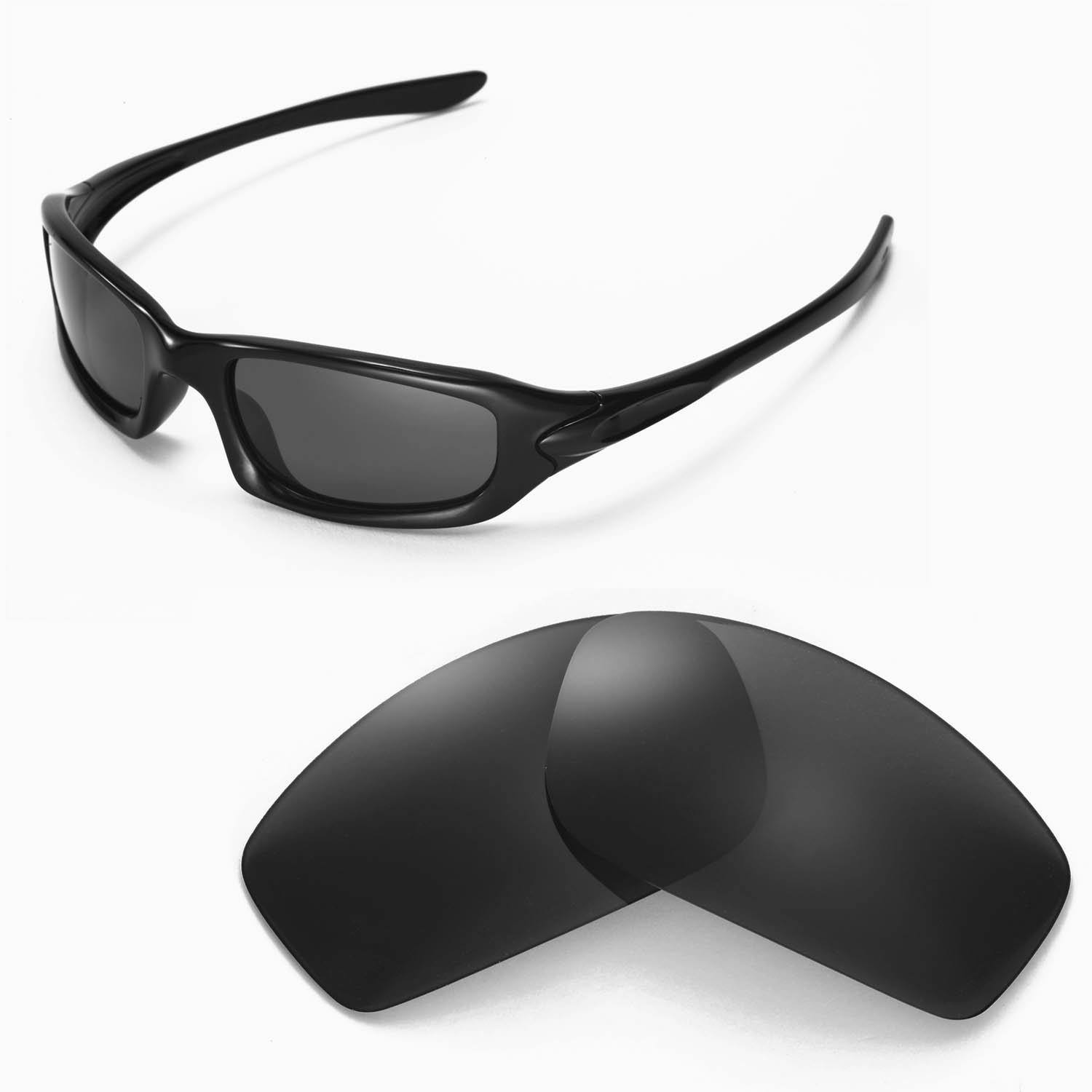 af15fe0d45 Details about New Walleva Polarized Black Replacement Lenses For Oakley  Fives 4.0 Sunglasses