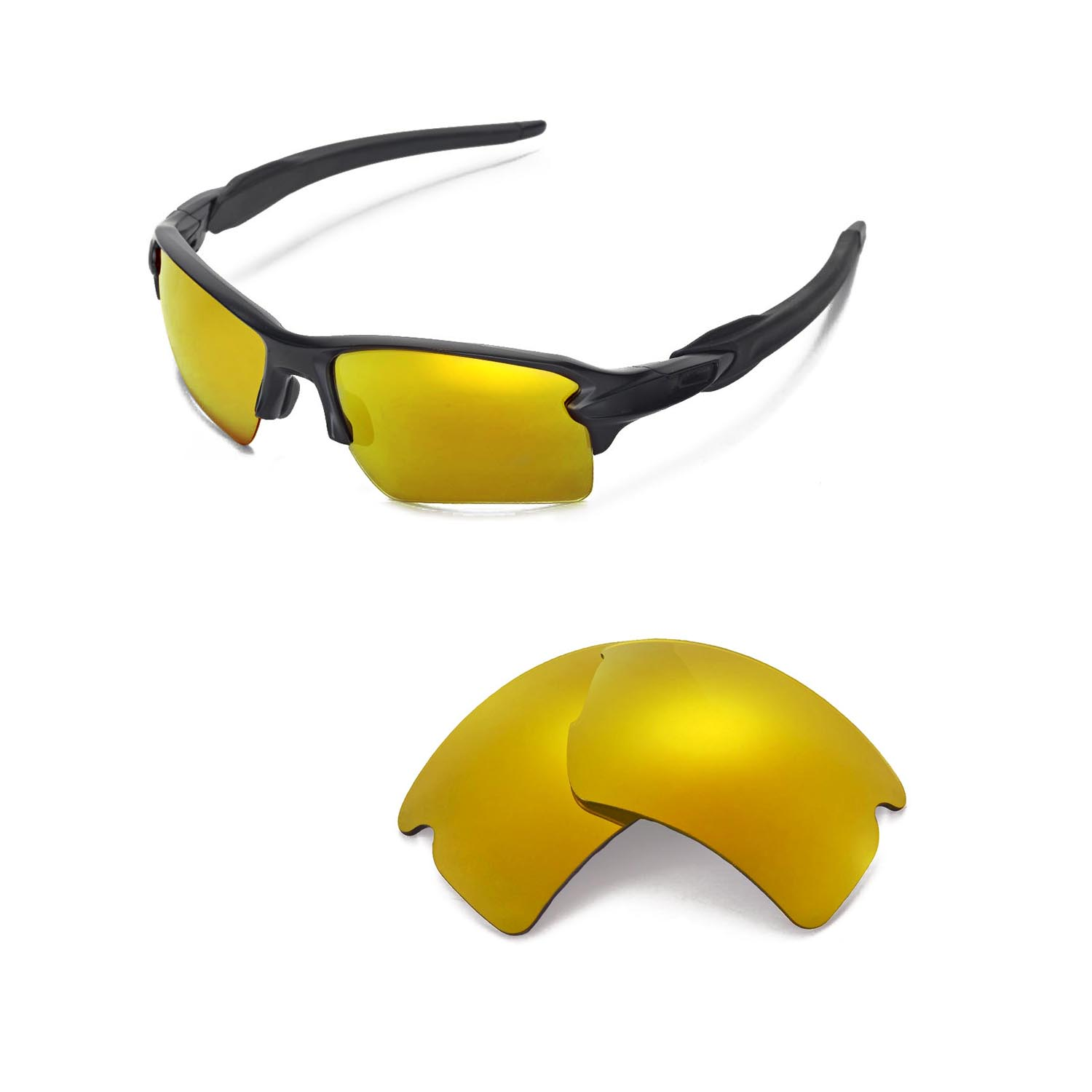 35127082cb2b6 Details about Walleva Polarized 24K Gold Replacement Lenses For Oakley Flak  2.0 XL Sunglasses