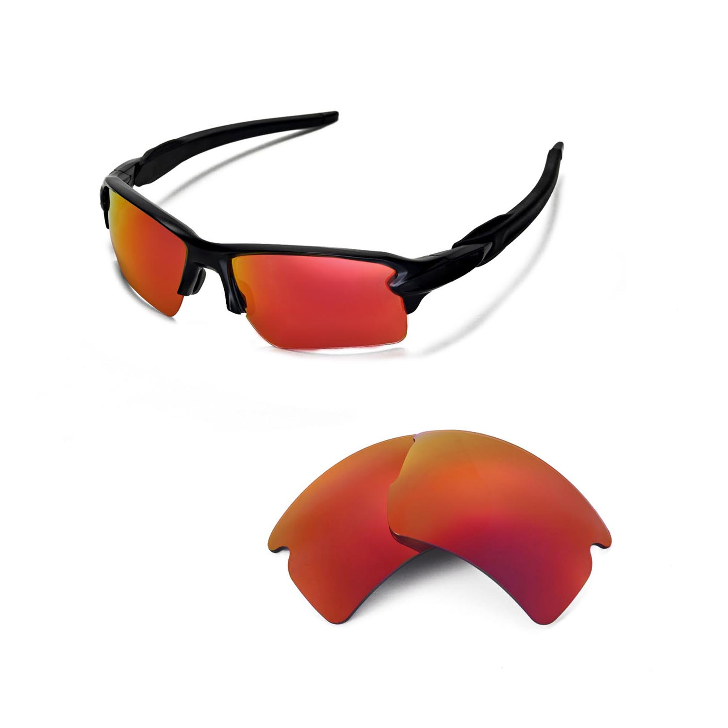 e6b552c5e3b77 Details about New Walleva Fire Red ISARC Polarized Replacement Lenses For Oakley  Flak 2.0 XL