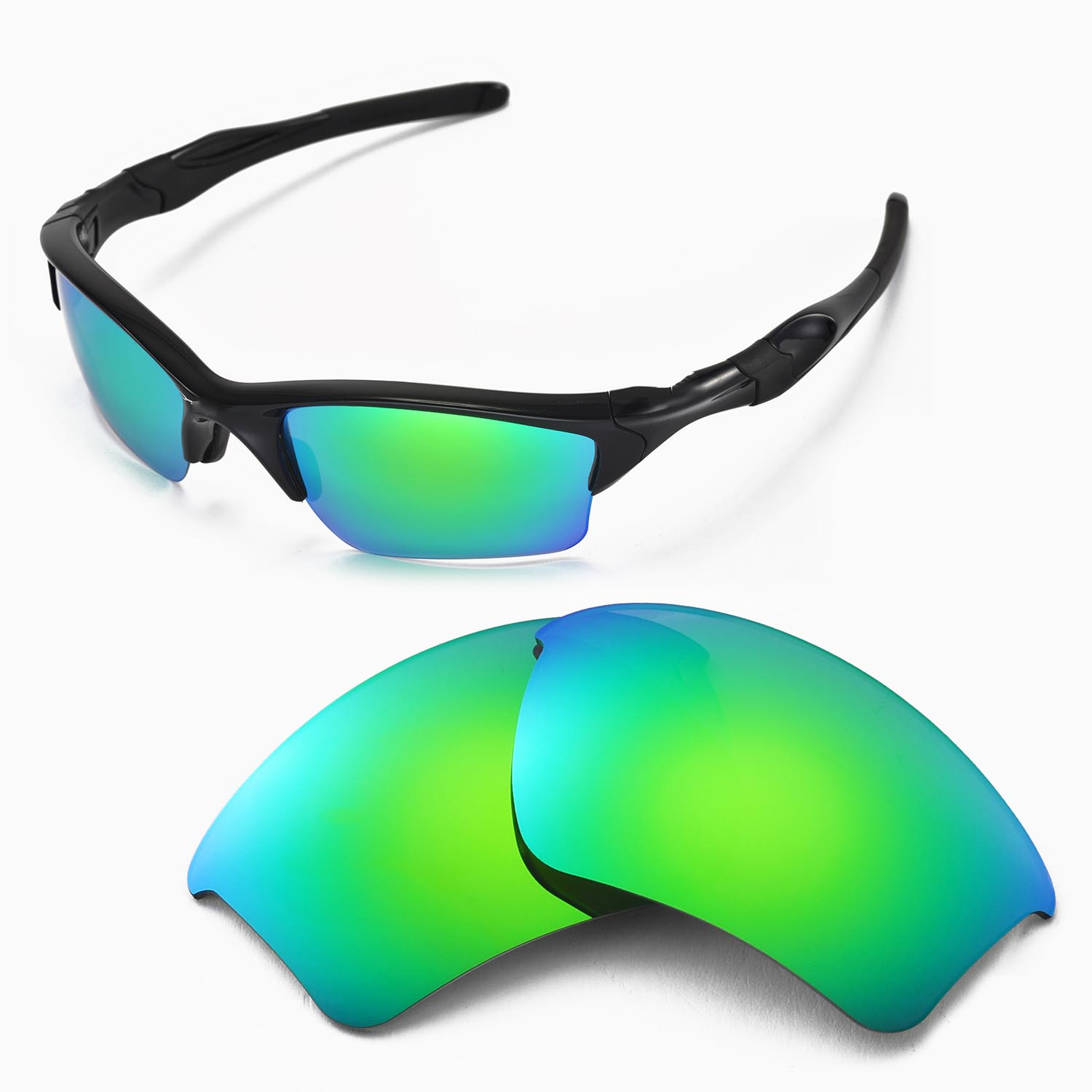 2e2163215f Walleva Polarized Emeraldine Lenses for Oakley Half Jacket 2.0 XL x1   Walleva Microfiber Lens Cleaning Cloth x1. main image