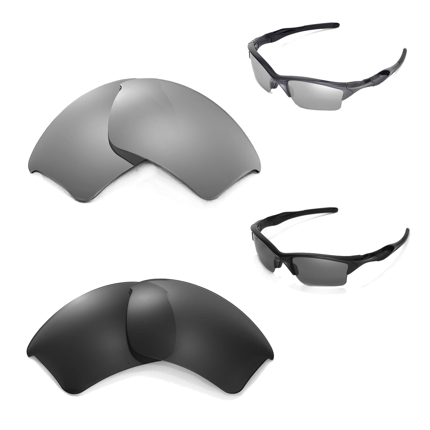 f32c8383c2d80 Details about New Walleva Polarized Black + Titanium Lenses For Oakley Half  Jacket 2.0 XL
