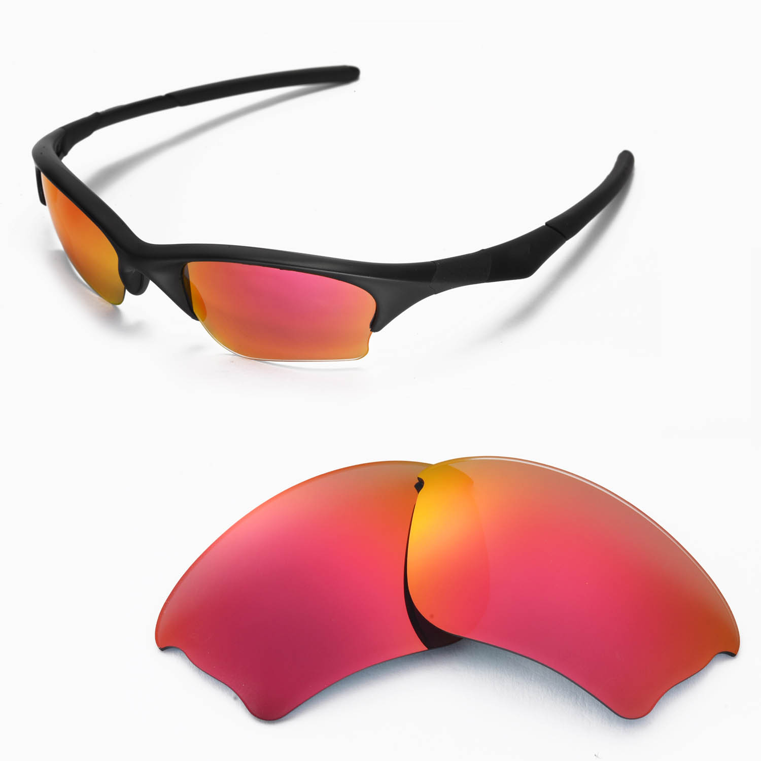 43e3e771c37 Details about New Walleva Fire Red Replacement Lenses For Oakley Half  Jacket XLJ Sunglasses