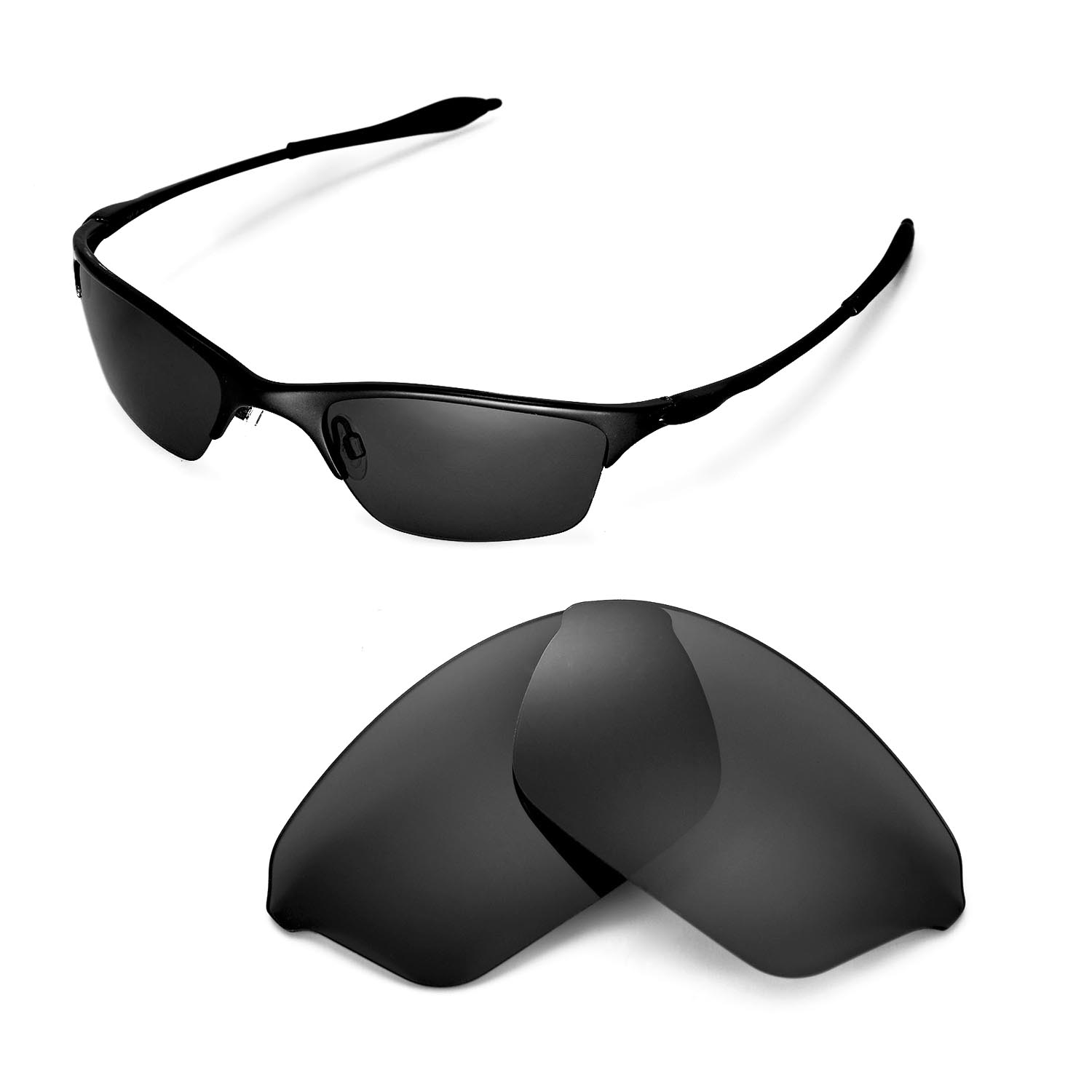 c138be47ba Details about New Walleva Polarized Black Replacement Lenses For Oakley  Half Wire XL