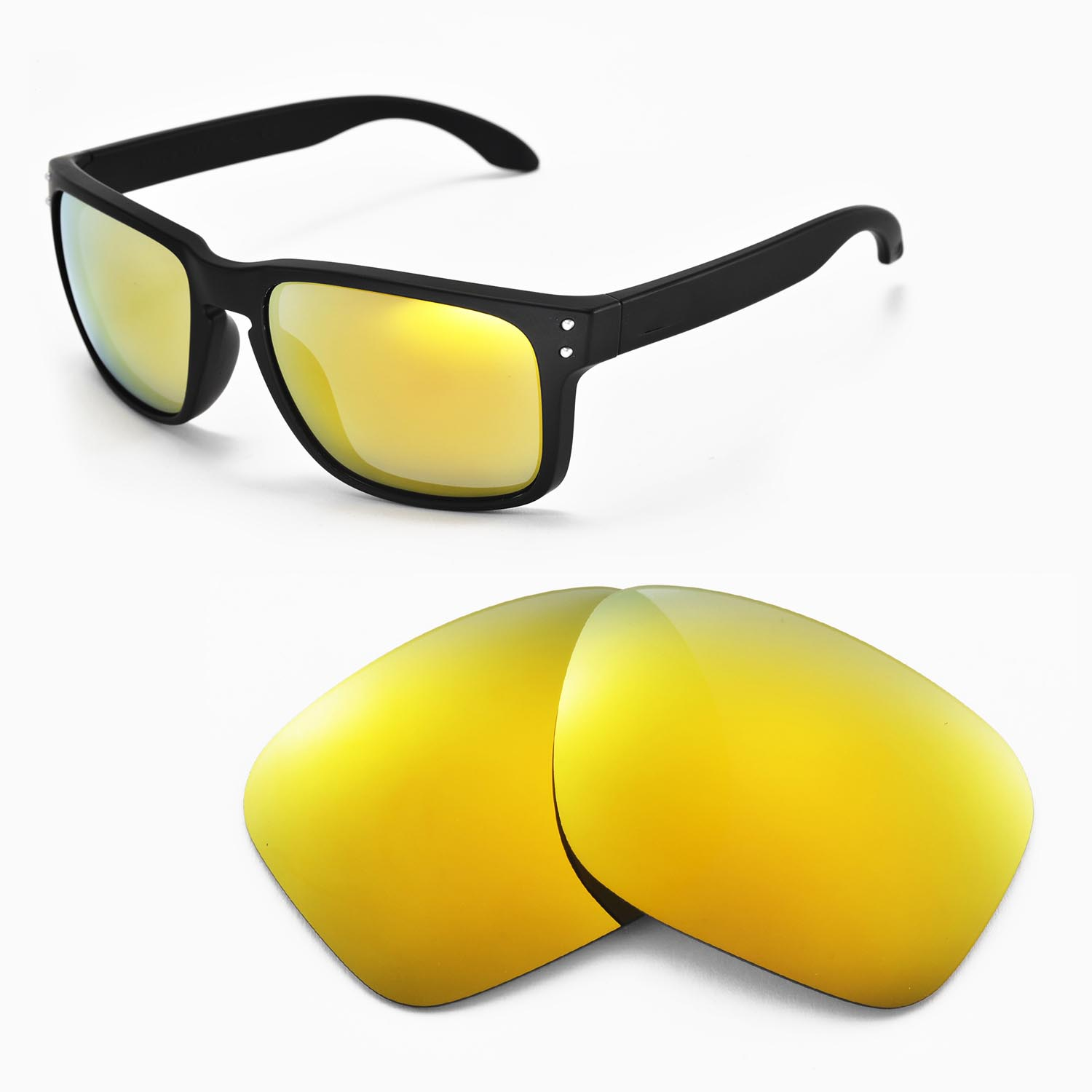 68f6db9338c Details about New Walleva Polarized 24K Gold Replacement Lenses For Oakley  Holbrook Sunglasses