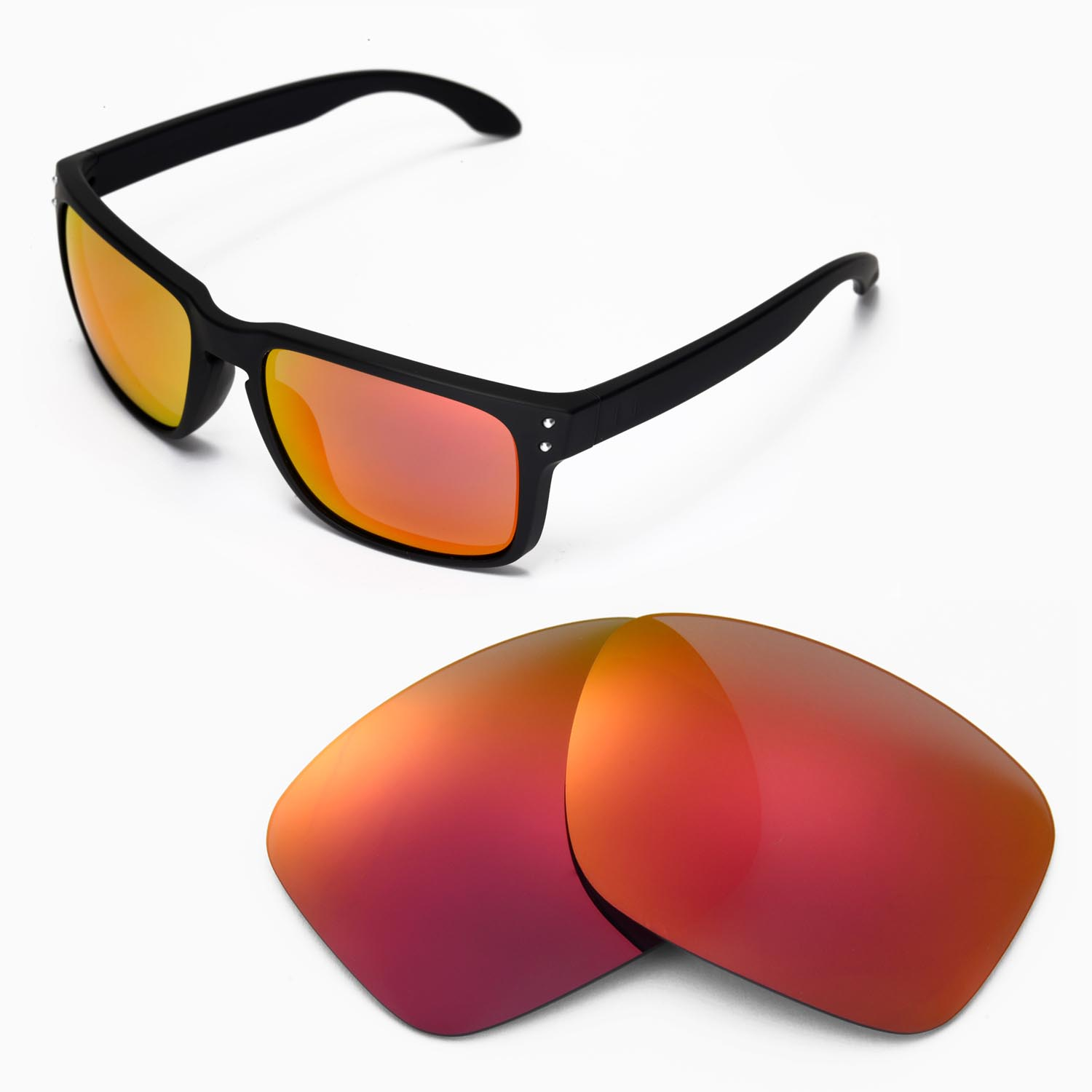 New Walleva Fire Red Replacement Lenses For Oakley Holbrook ... fdfd0b034679