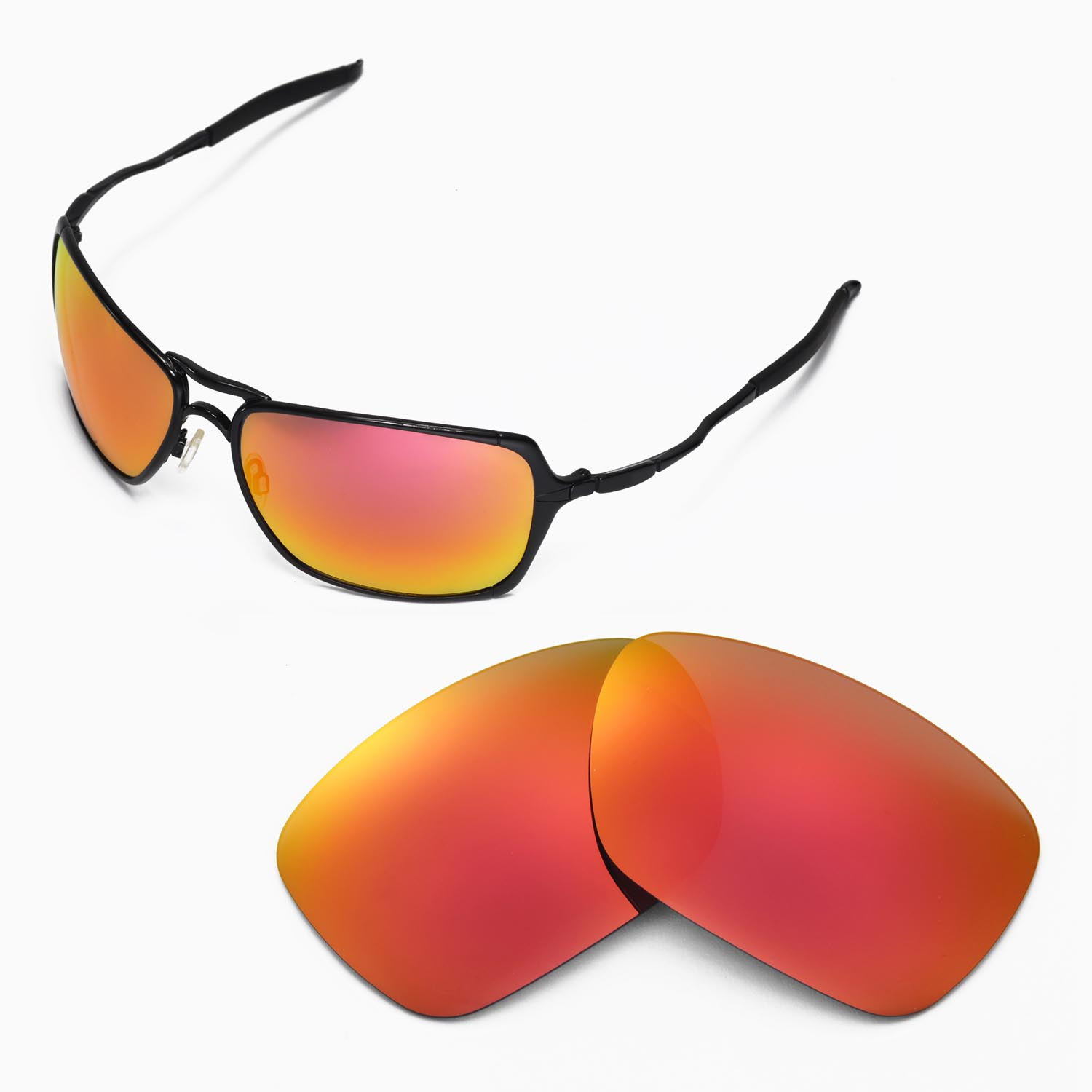 fb2b7643e7be6 Details about New Walleva Polarized Fire Red Replacement Lenses For Oakley  Inmate Sunglasses