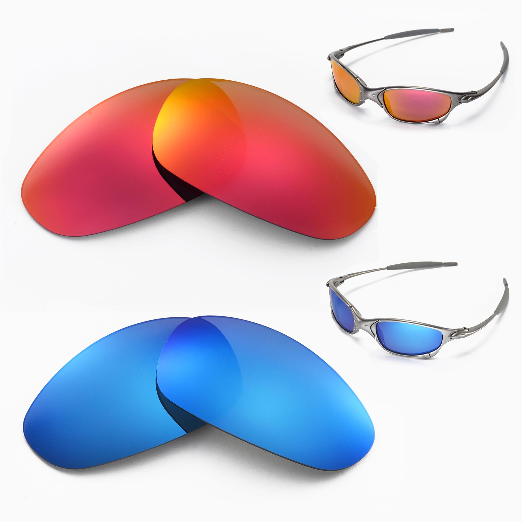 1e9bf9e53e Details about New Walleva Polarized Fire Red + Ice Blue Lenses For Oakley  Juliet