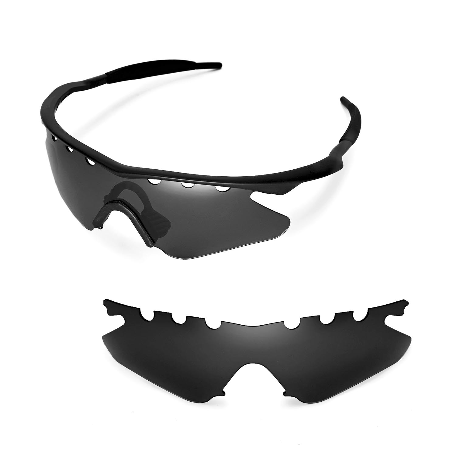 f861127e4f5 Details about Walleva Black Vented Replacement Lenses For Oakley M Frame  Heater Sunglasses
