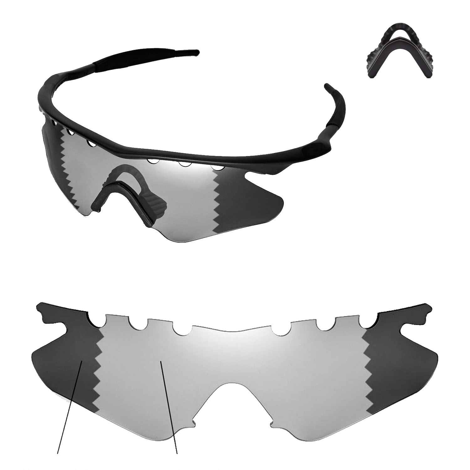 b7a94e1738 Details about WL Polarized Transition Vented Lenses + Black Nosepads For  Oakley M Frame Heater