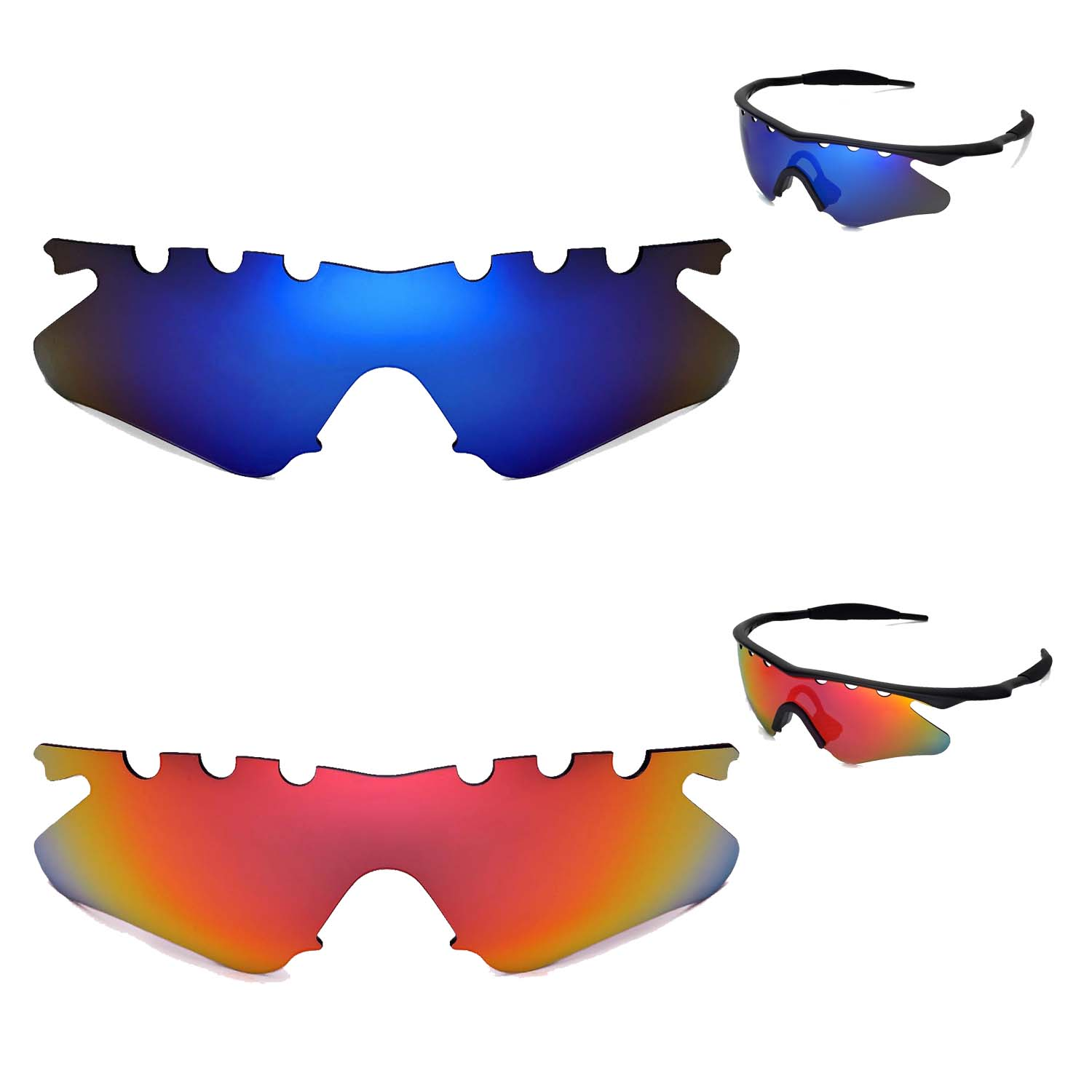 New Walleva Polarized Fire Red+ Ice Blue Vented Lenses For Oakley M ...