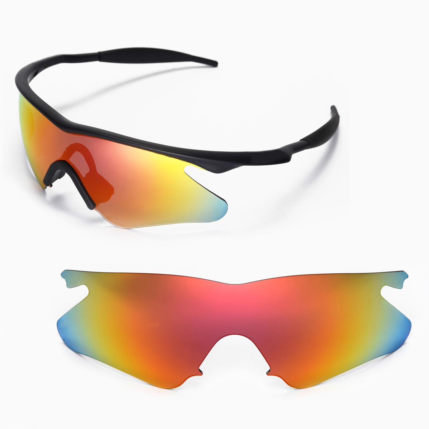 New Walleva Fire Red Replacement Lenses For Oakley M Frame Heater ...