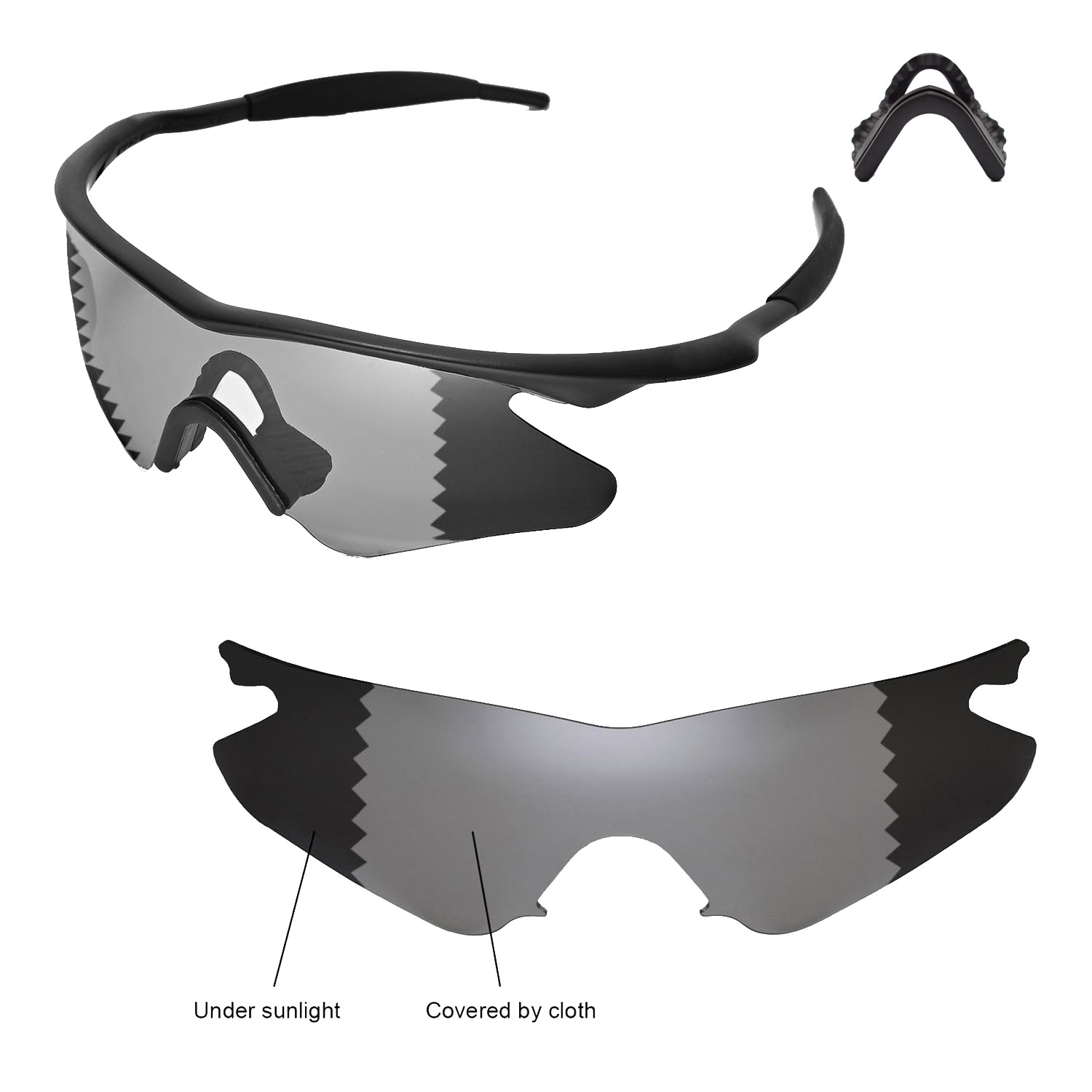 79b5d48c41c Details about Walleva Polarized Transition Replacement+Black Nosepads 4  Oakley M Frame Heater