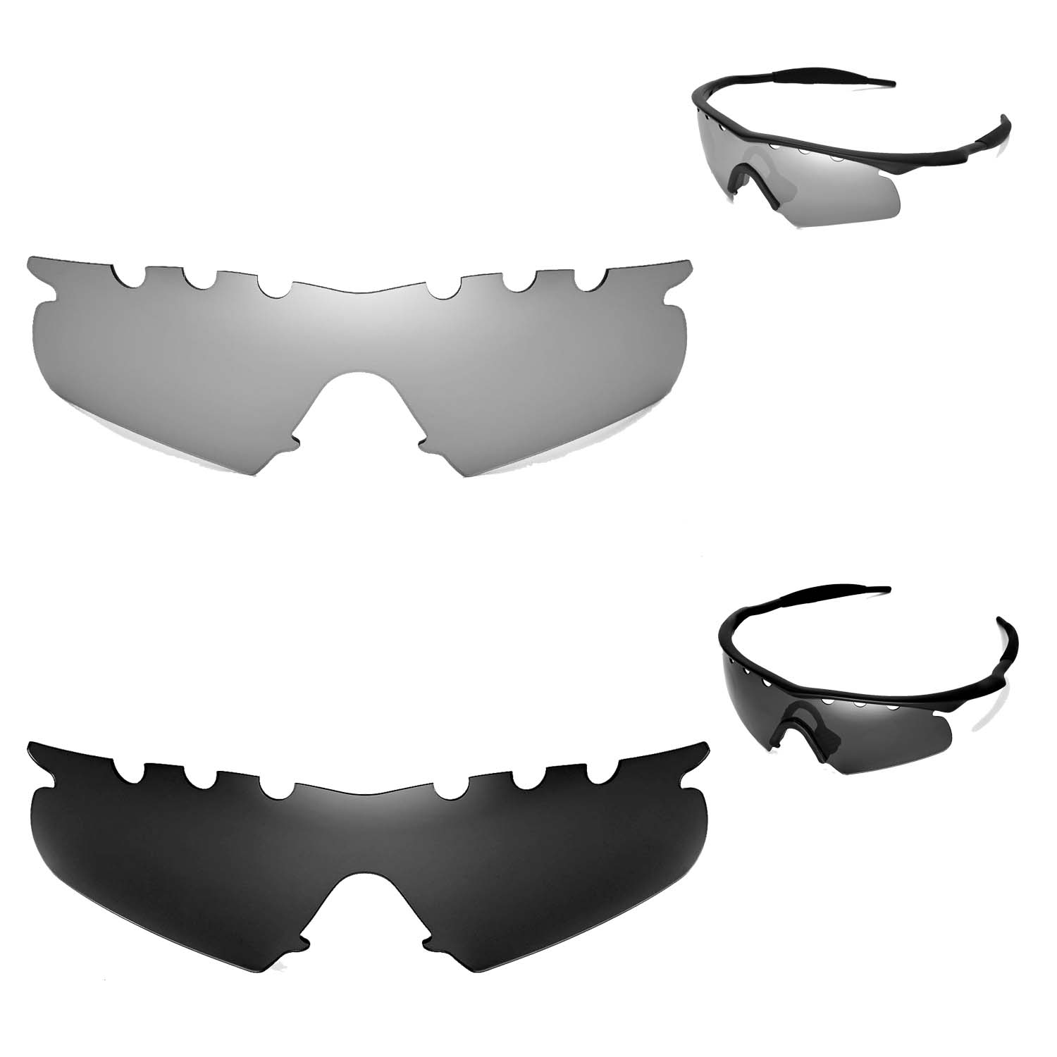 WL Polarized Titanium+Black Vented Replacement Lenses For Oakley M ...