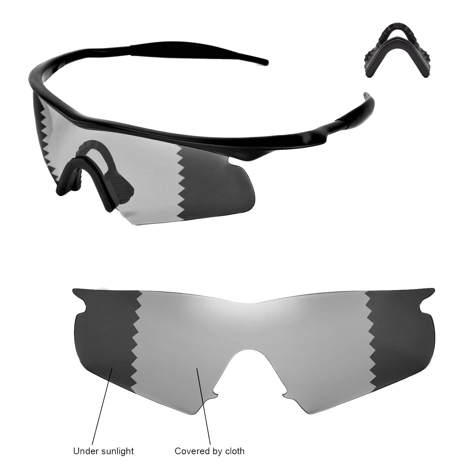 506b5eaa9a8 Details about Walleva Polarized Transition Lenses and Black Nosepads 4  Oakley M Frame Hybrid