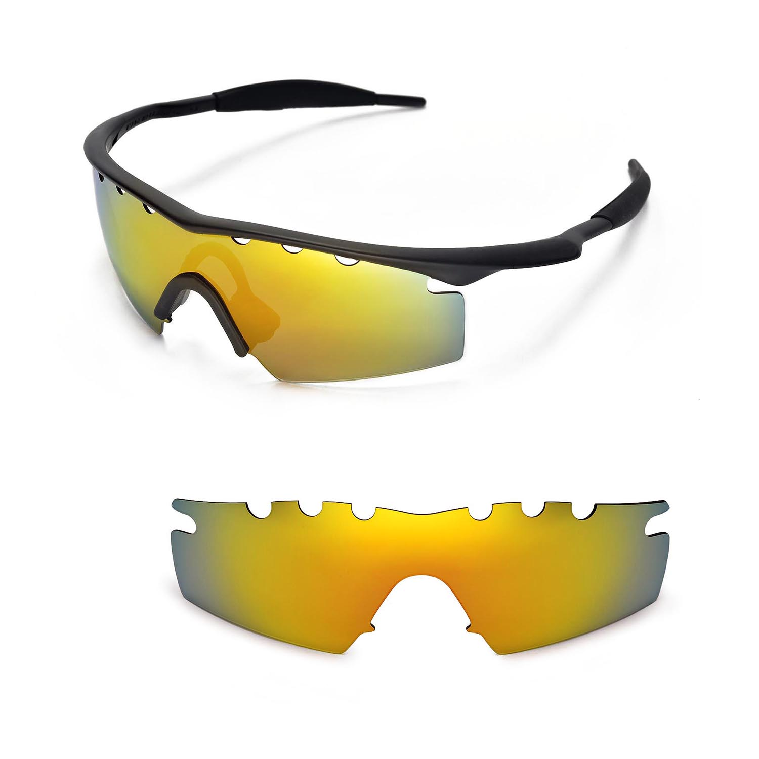 New WL Polarized 24K Gold Vented Replacement Lenses For Oakley M ...