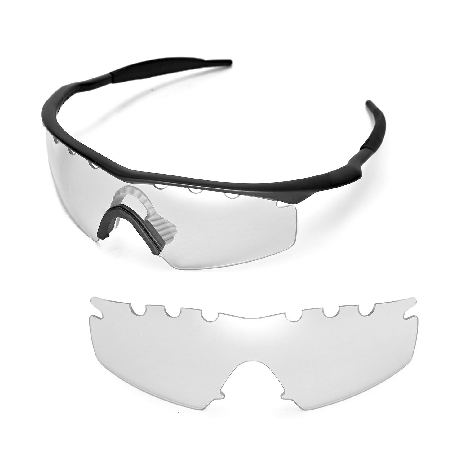 8c3eb4ebb86 Details about Walleva Clear Vented Replacement Lenses For Oakley M Frame  Strike Sunglasses
