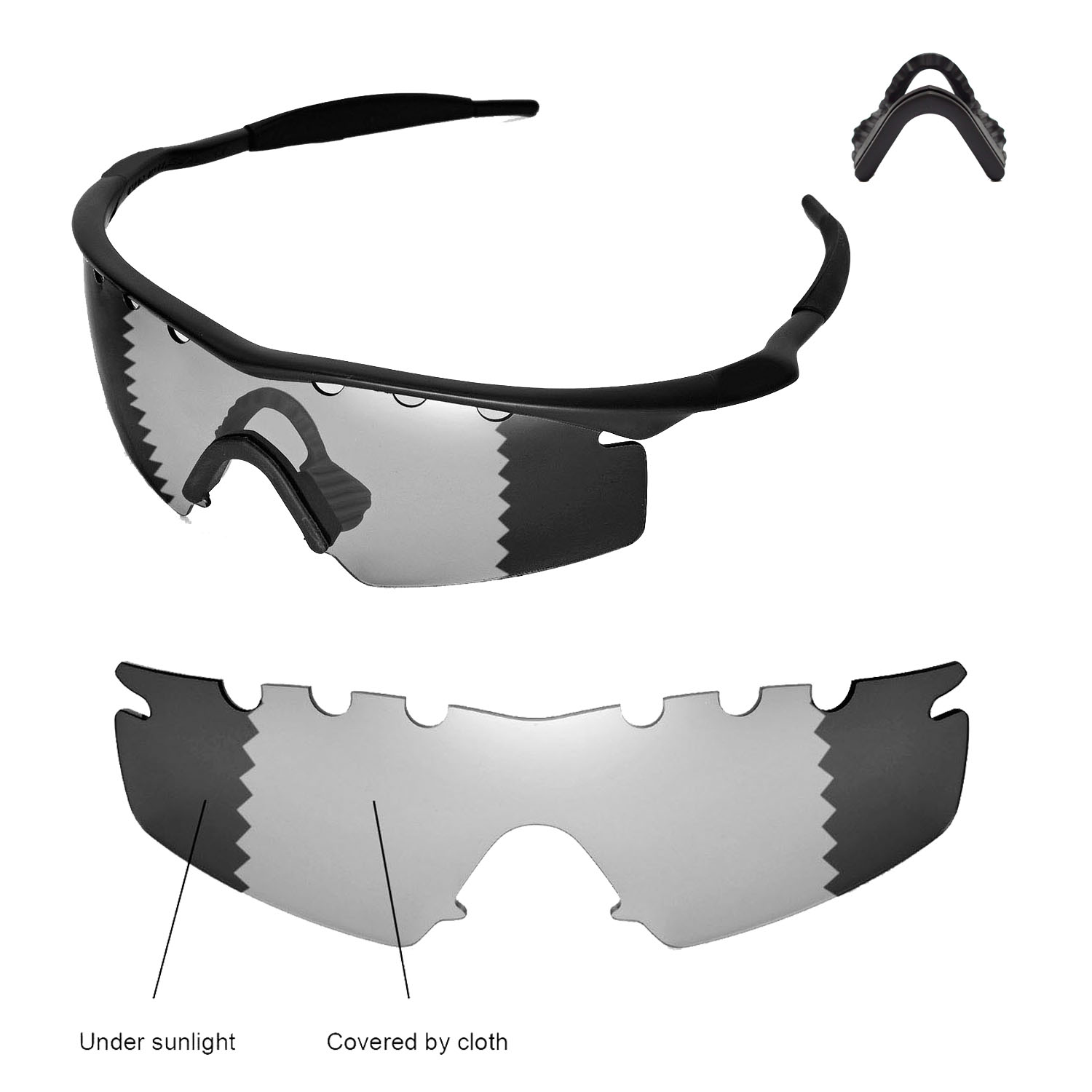 6a06bb73665 Details about WL Polarized Transition Vented Lenses + Black Nosepads for  Oakley M Frame Strike