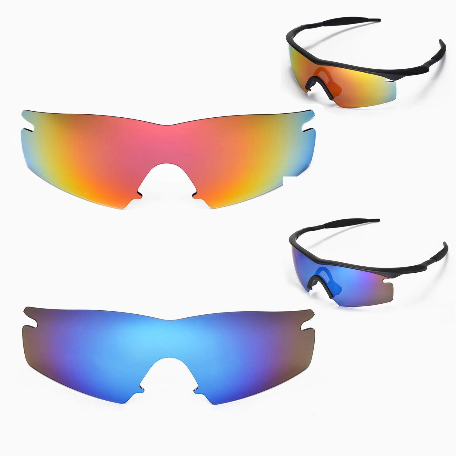 9afb104bbf4 Details about New Walleva Polarized Fire Red + Ice Blue Lenses For Oakley M  Frame Strike