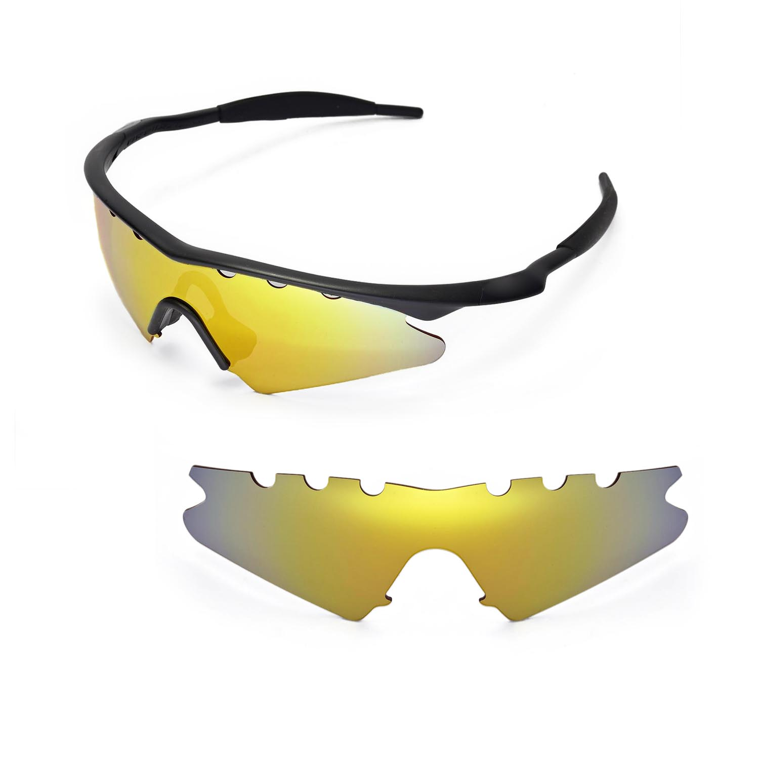 cb45f3fbff Details about New WL Polarized 24K Gold Vented Replacement Lenses for Oakley  M Frame Sweep