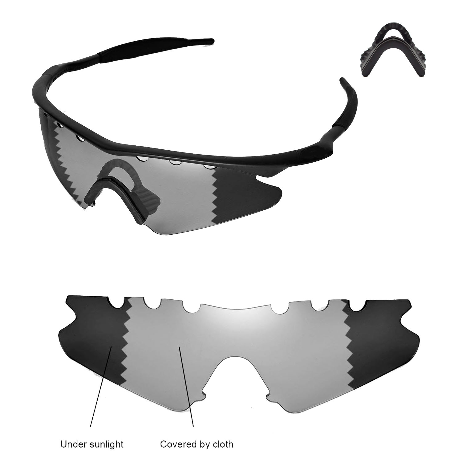 Polarized Transition Vented Replacement+Black Nosepads for Oakley M ...